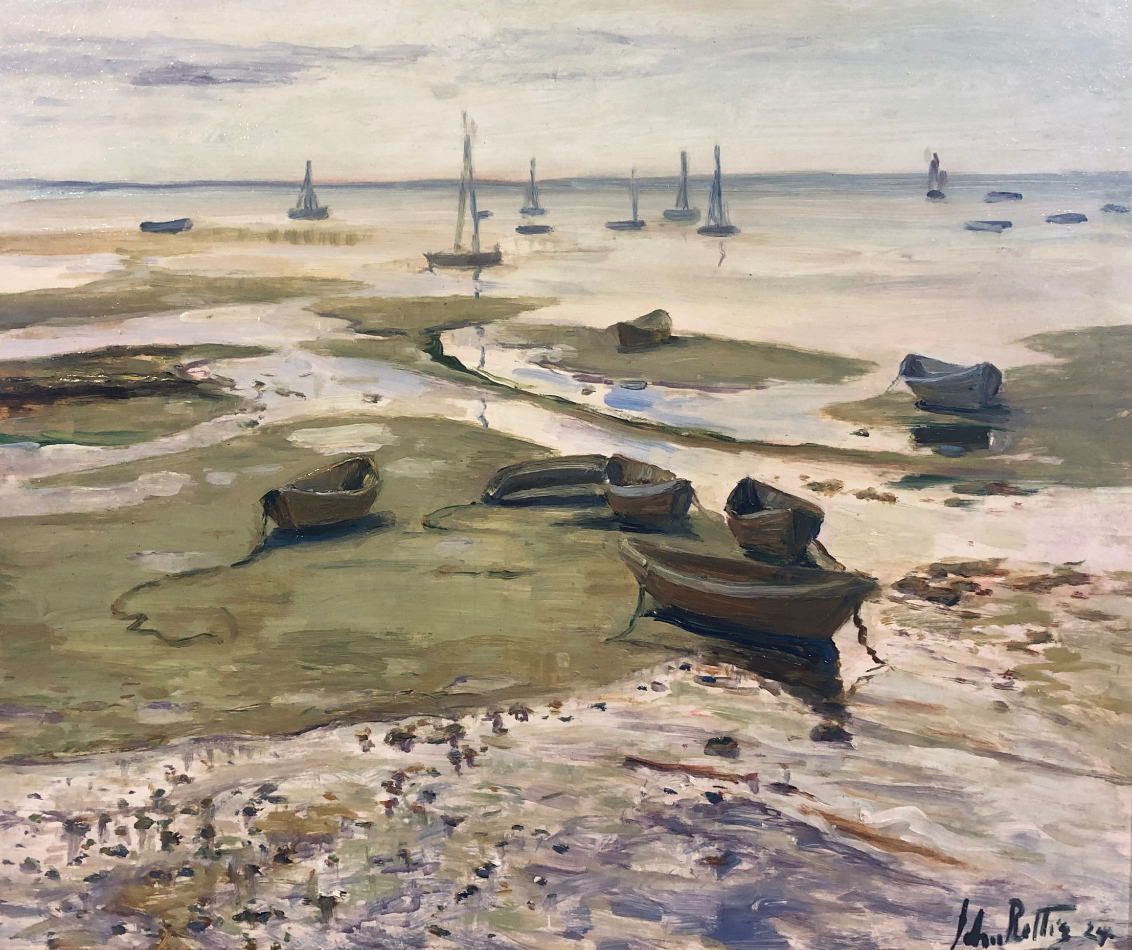 John Rettig,  Low Tide—Provincetown , 1924, oil on board. Image courtesy of the Cincinnati Art Galleries, 14115.