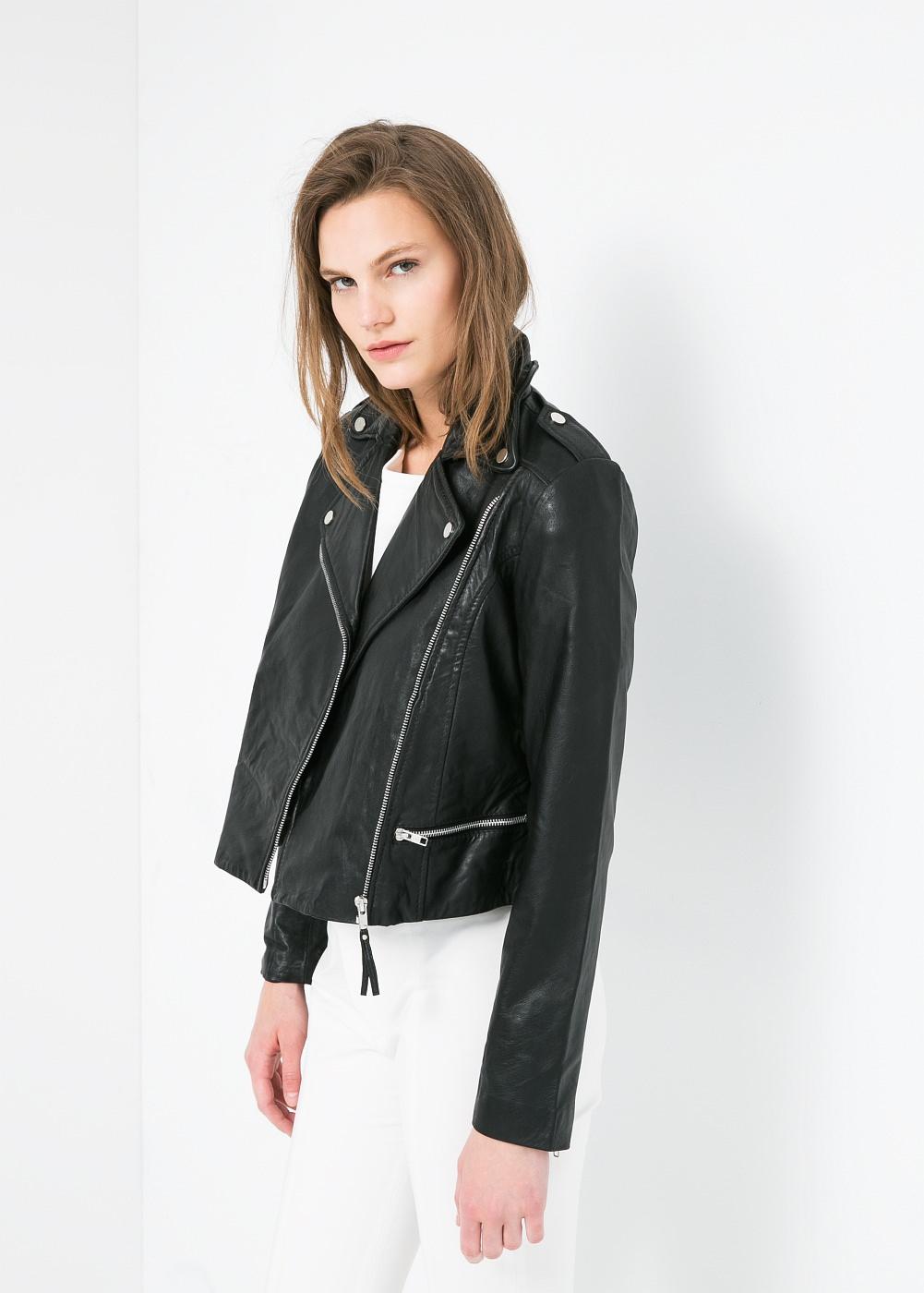 Mango  Leather Biker Jacket  ($190)