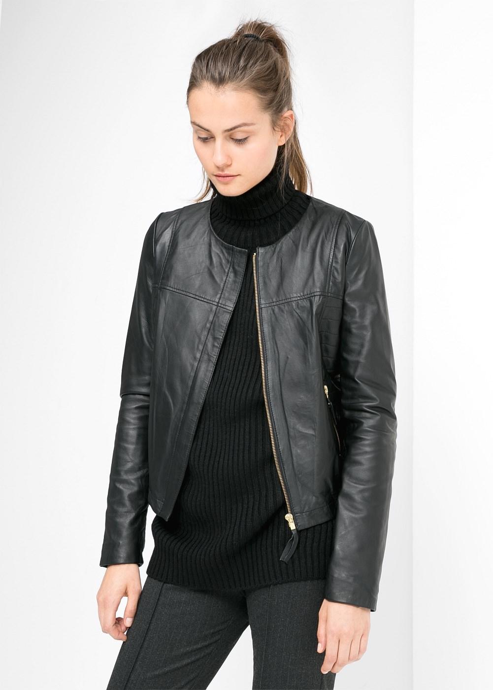 Mango  Leather Bomber Jacket  ($190)