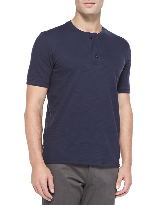 Vince Short Sleeve Slub Henley ($78) from  Neiman Marcus