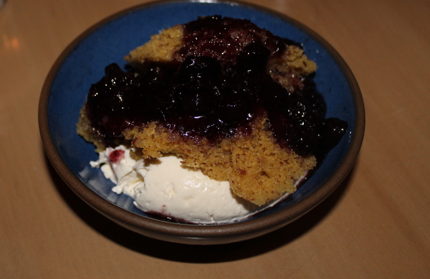 Polenta Almond Cake with Blueberries and Marscapone