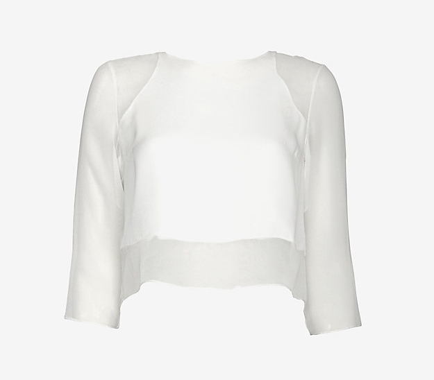 Elizabeth and James  Sheer Sleeve Crop Top , $69