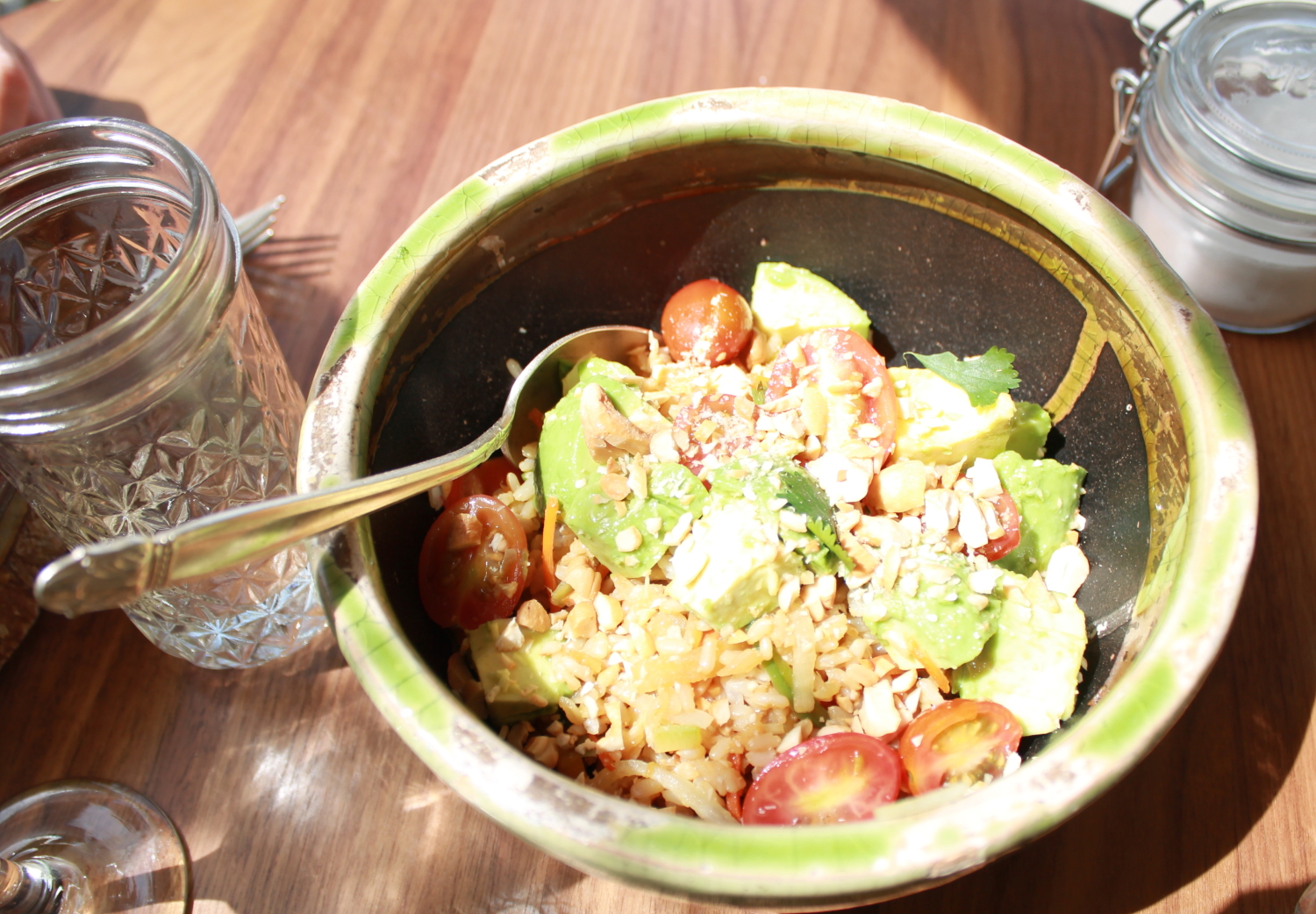 Rice Vegginb Bowl with Avocado and Tomatoes