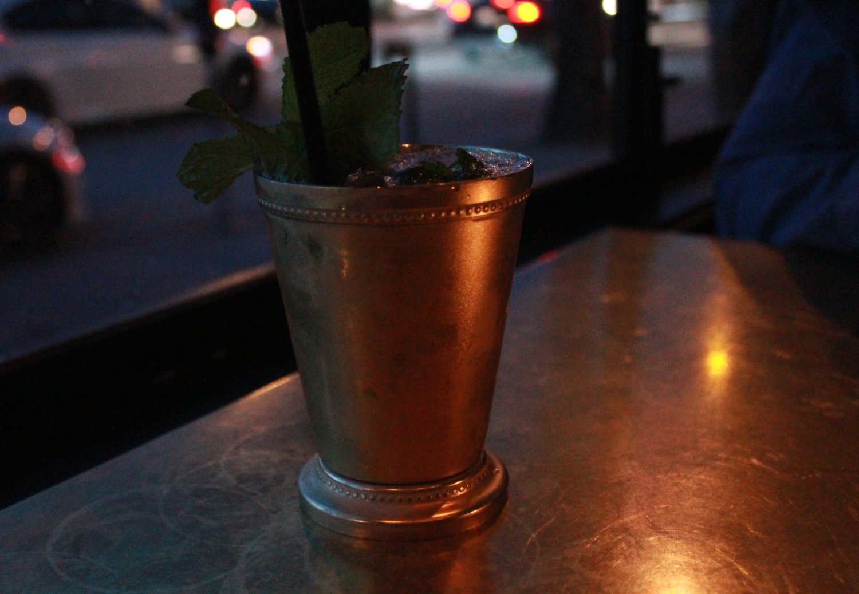 The Bardot: Bourbon, Allspice, Pineapple, Lemon, and Mint