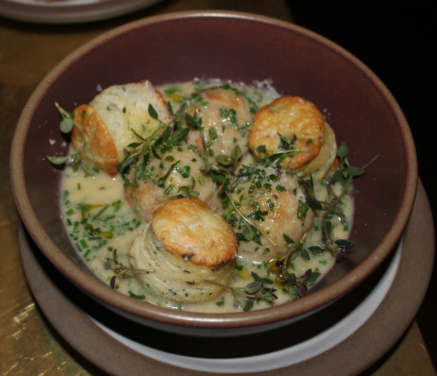Rabbit Boulettes with Herb Dumplings and Maple Cream
