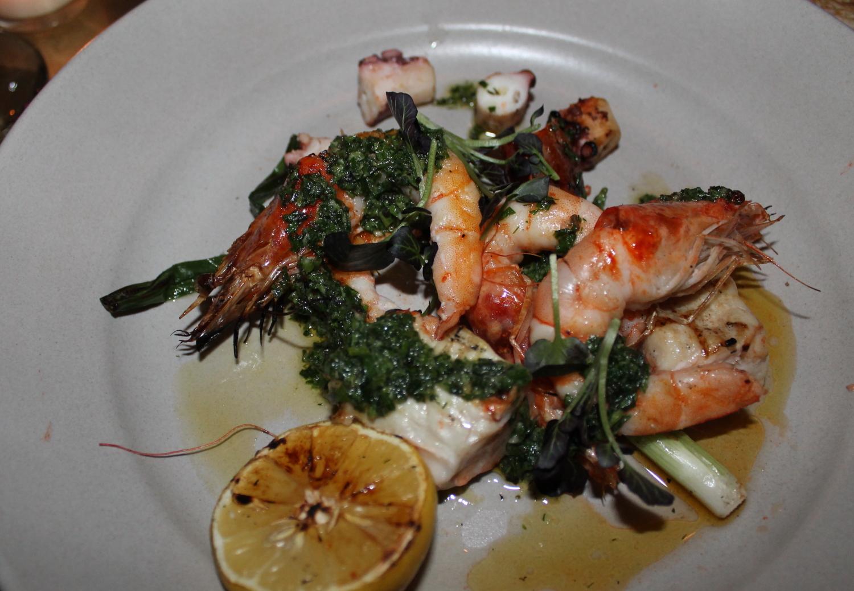 Wood grilled shrimp, octopus, and swordfish.