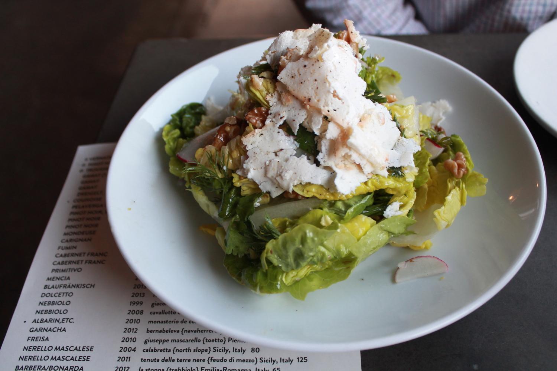 Genevieve's Little Gems: Walnut vinaigrette,ricotta salata,soft herbs,radish, andshallots.
