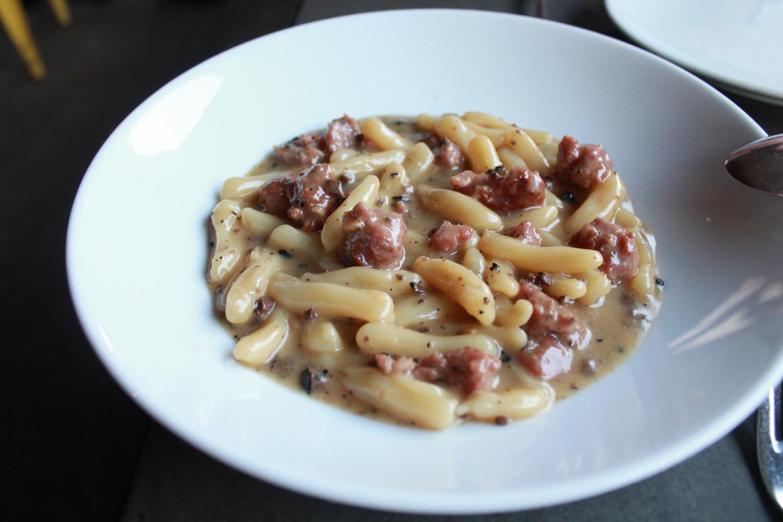 Cavatelli alla Norcina: Ricotta dumplings,housemade pork sausage,black truffles,grana padano.