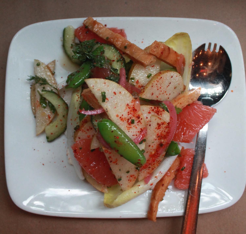 Sugar Snap Pea and Pear Salad with Grapefruit, Burrata, Dill, and Walnut
