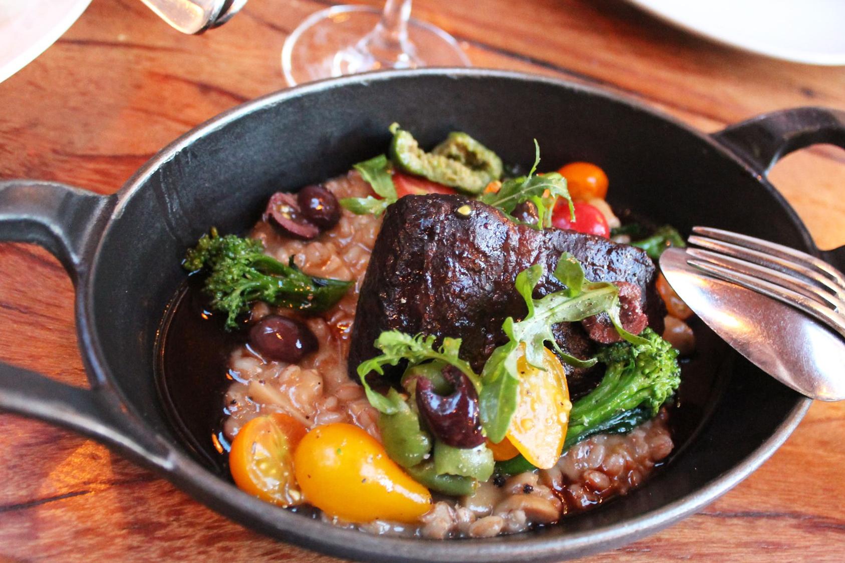 Red Wine-Braised Beef Short Rib   porcini mushroom-farro risotto, tomatoes, grilled broccoli