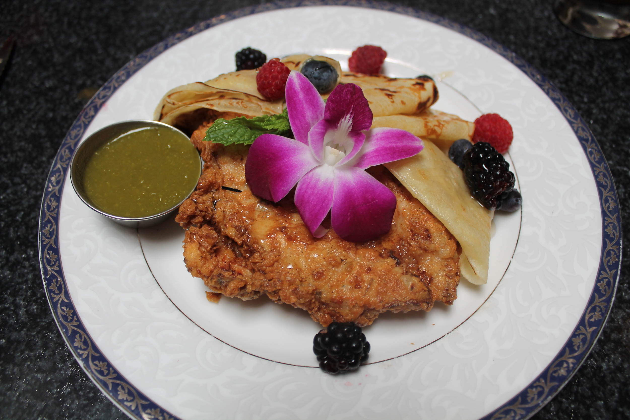 Crispy Chicken and Crepes:Jidori chicken breast, Pudwill Farms berries, local organic hone