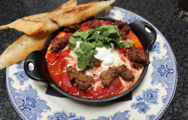 Shakshuka:Moroccan braised eggs, spicy tomato gravy, harissa, lebn