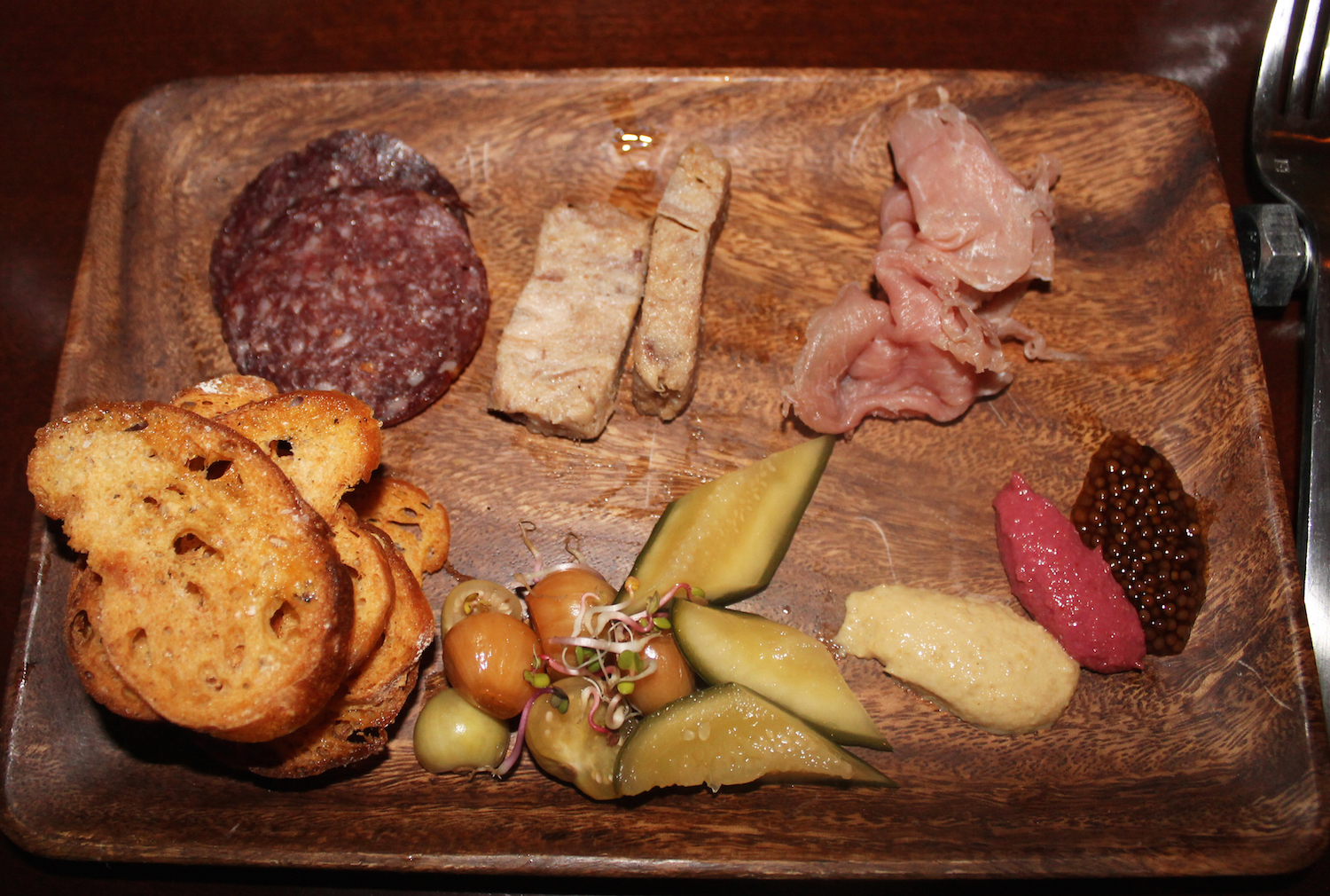 Vension Salami, Country Pate, Country Ham, Mustards, Pickles, Crostini