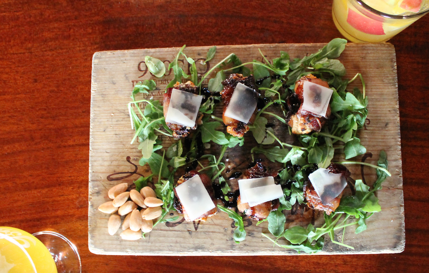 Bacon Wrapped Dates with goat chesse