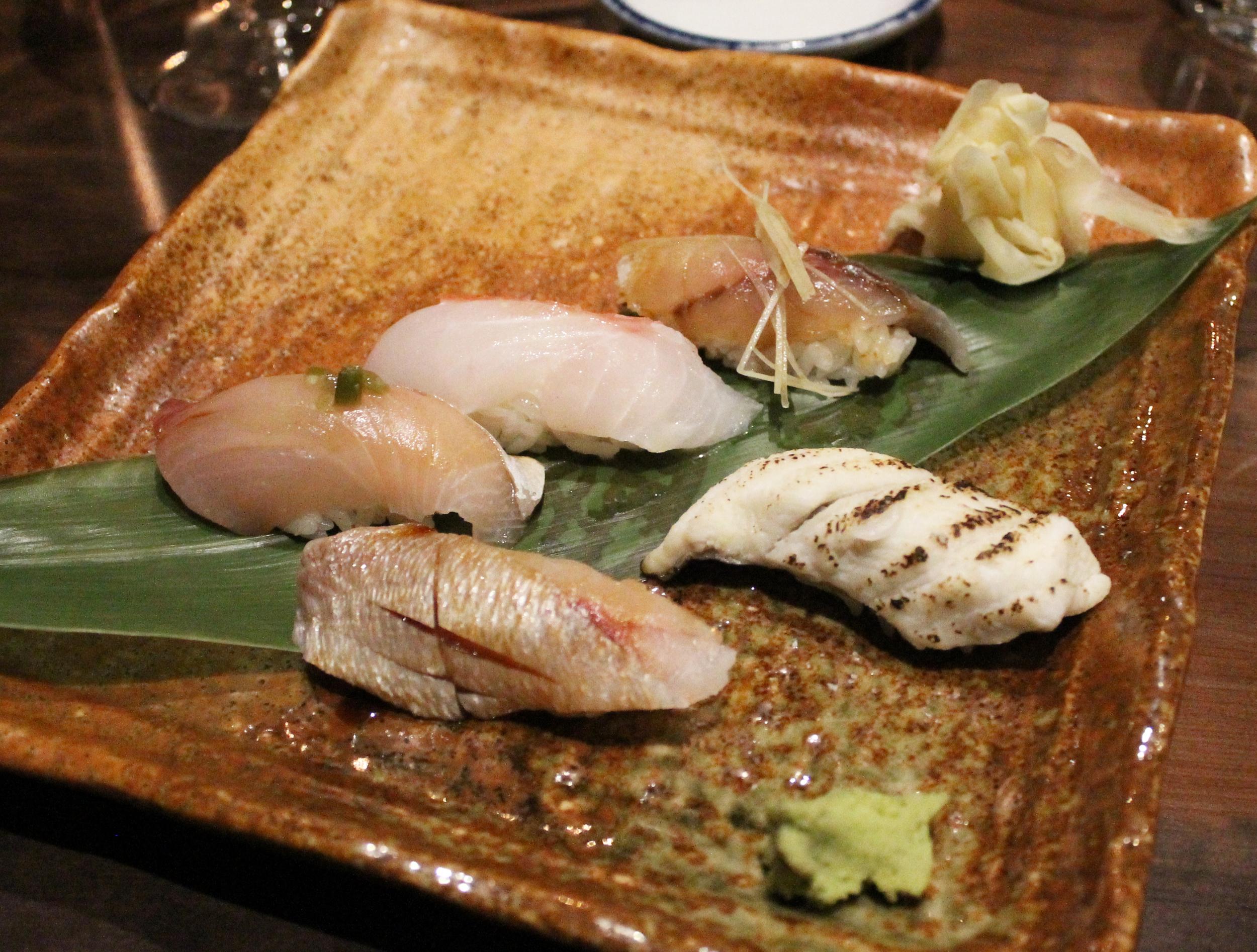 Nigiri: Kinme-dai, Ko-dai, Kanpachi, Wild Aji, and Ike-Anago