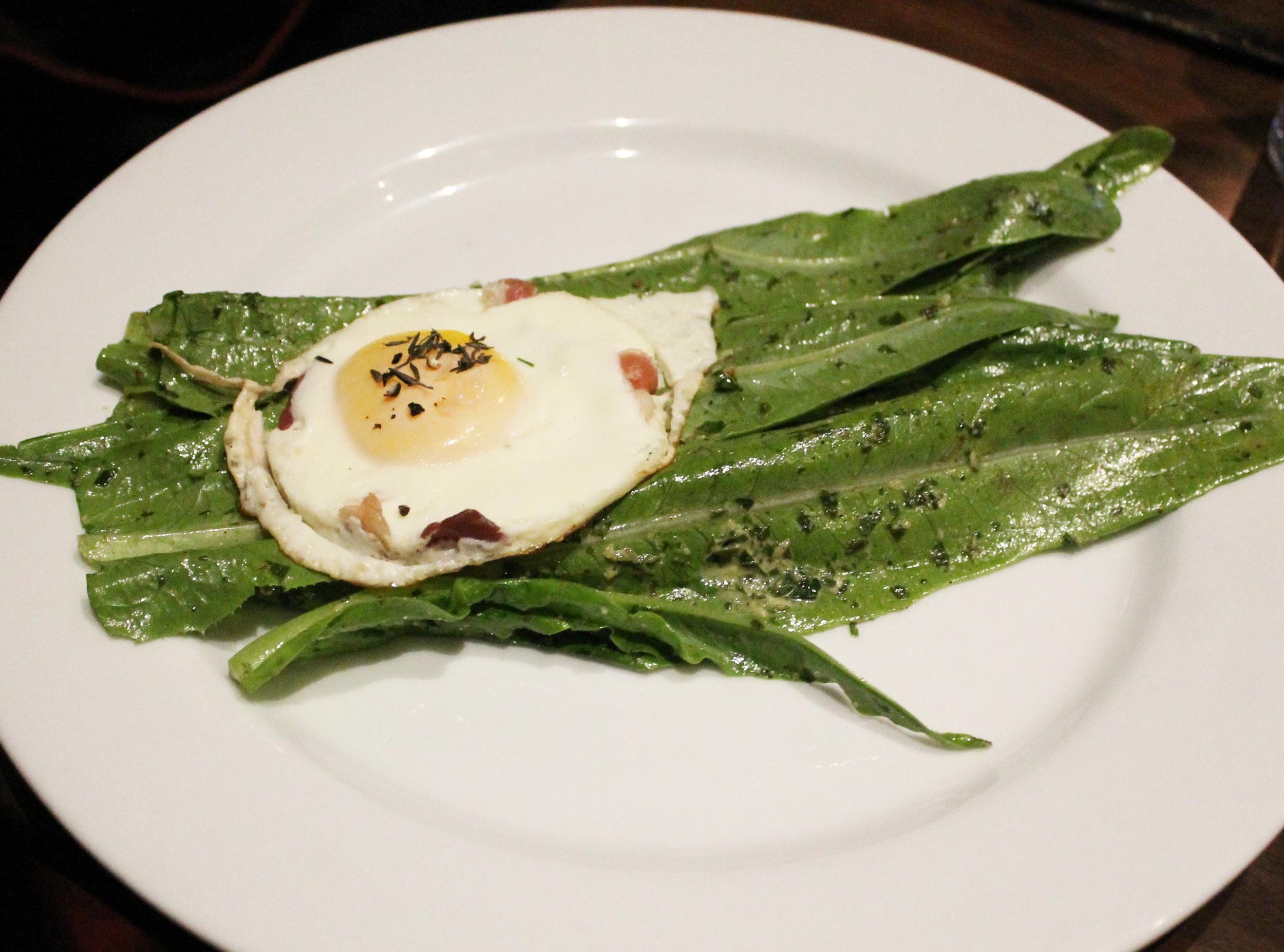 Sword Lettuce Salad: Fertile runny egg, proscuitto, asian green goddess