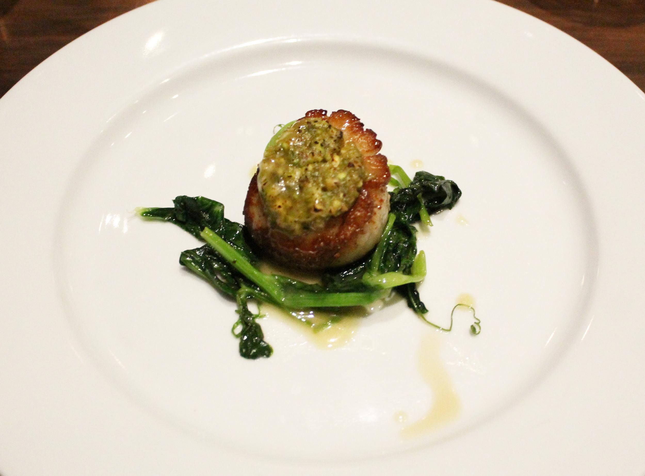 Pistachio Crusted Scallop: Karashi, honey, sauteed pea shoots