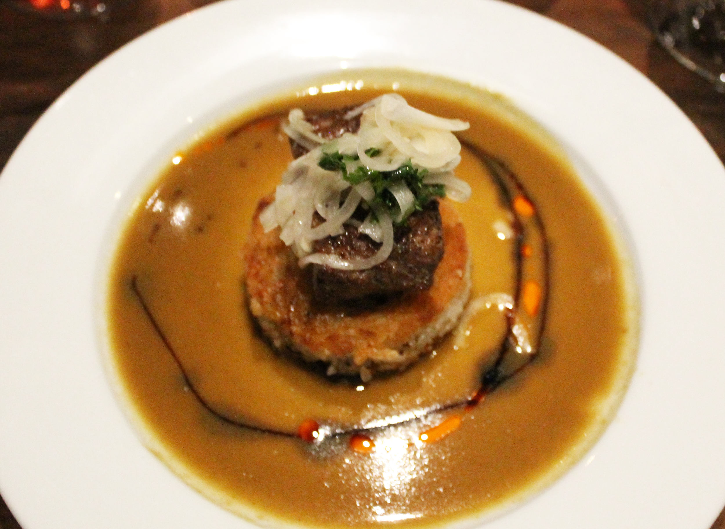 Curry Lamb: Crispy shitake rice, marinated onion