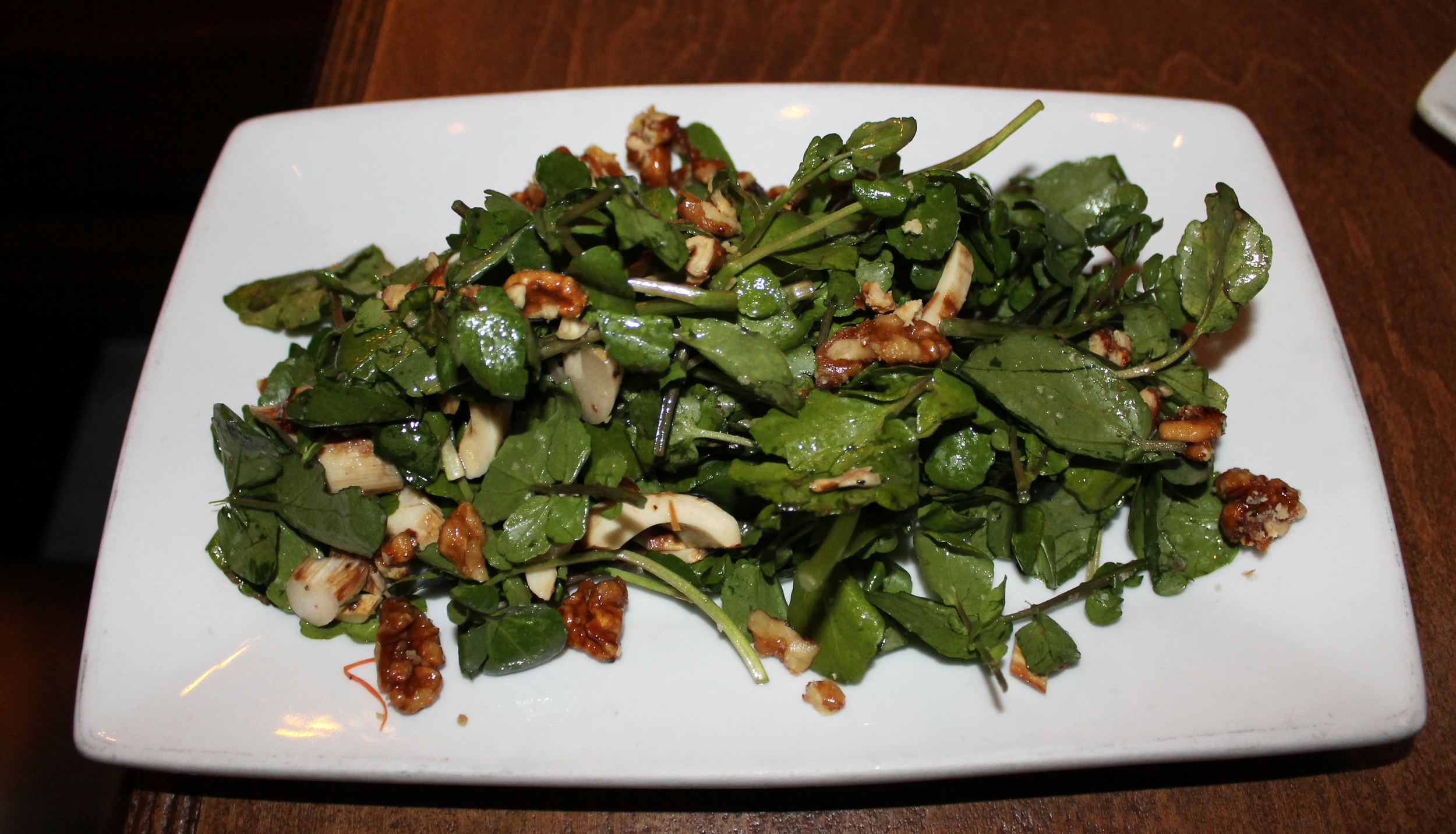 Palmitos Salad:grilled hearts of palm, candied walnuts, watercress