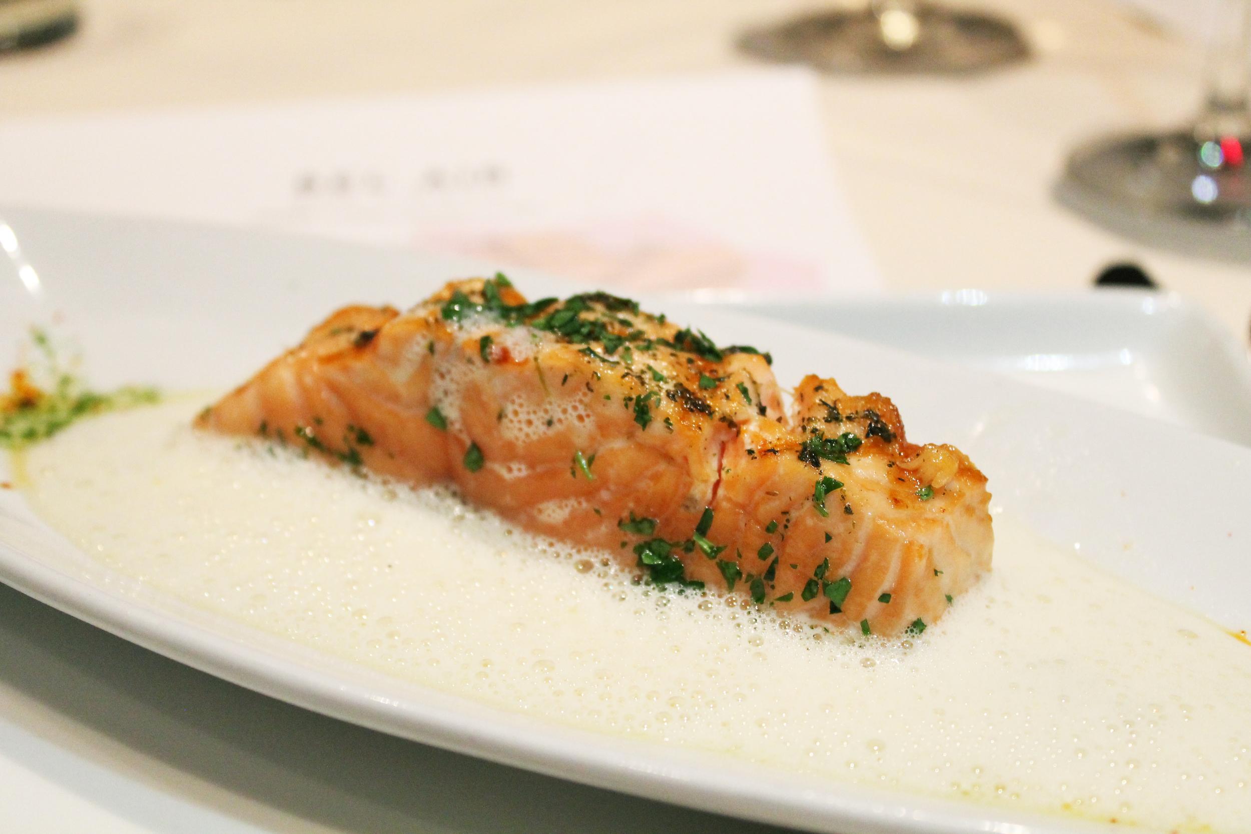 "SALMON: grilled, lemon lovage cream, potato + fennel ""rösti"""