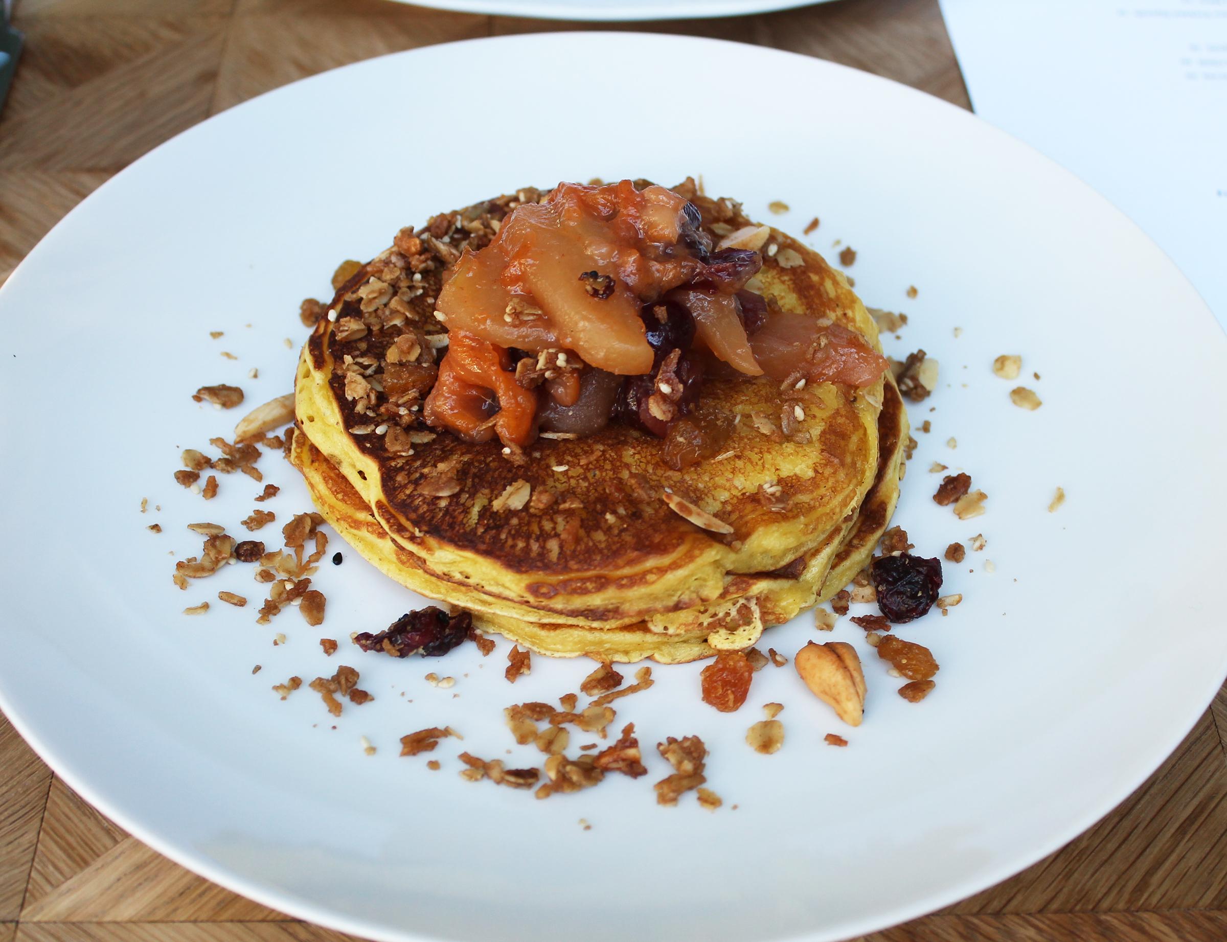 LEMON RICOTTA PANCAKES :Stewed Fall Fruits, Granola, Maple Syrup