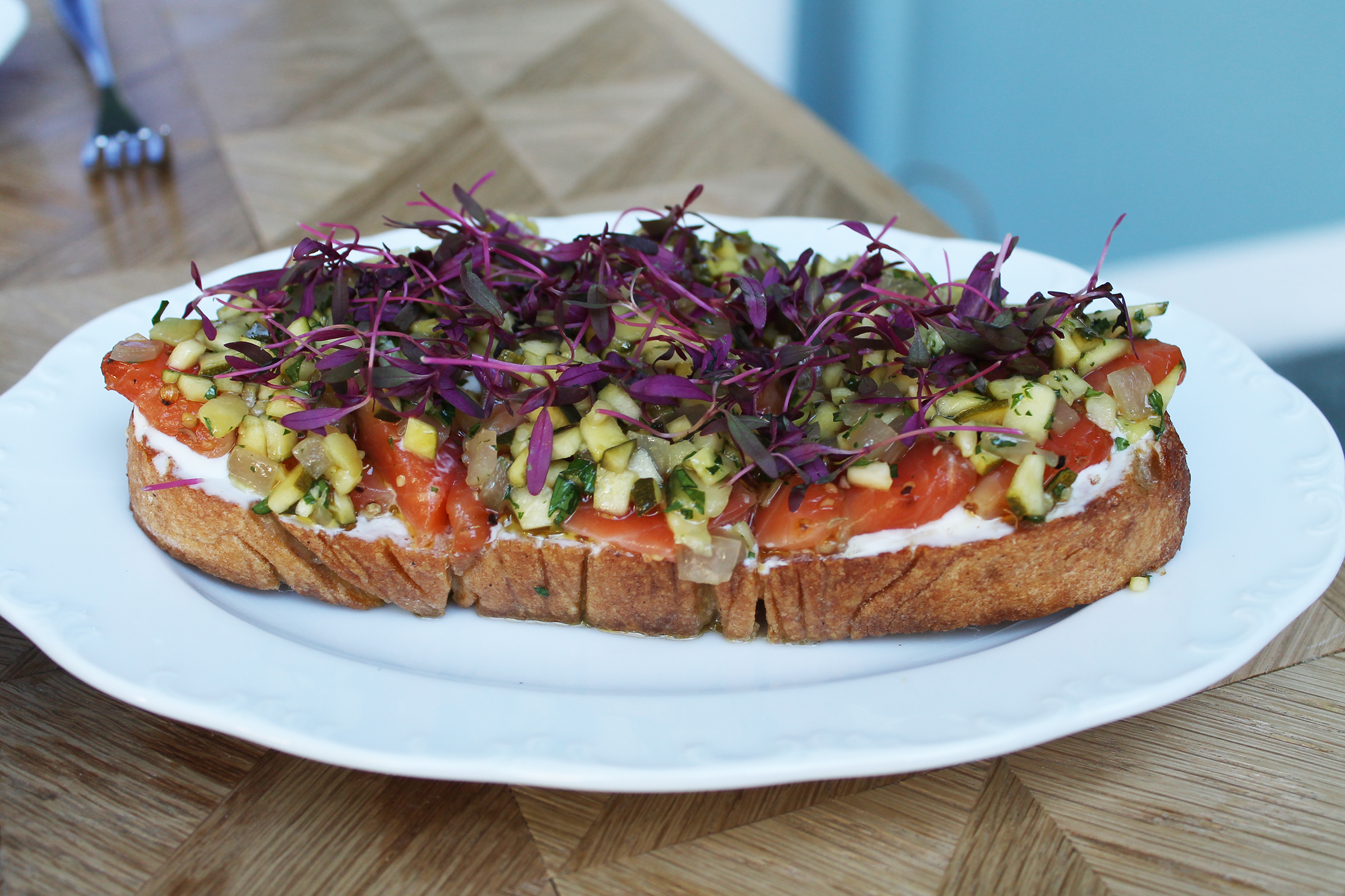 PASTRAMI-CURED SALMON TARTINE :Country Bread, Ricotta Cheese, Spice Pickled Squash
