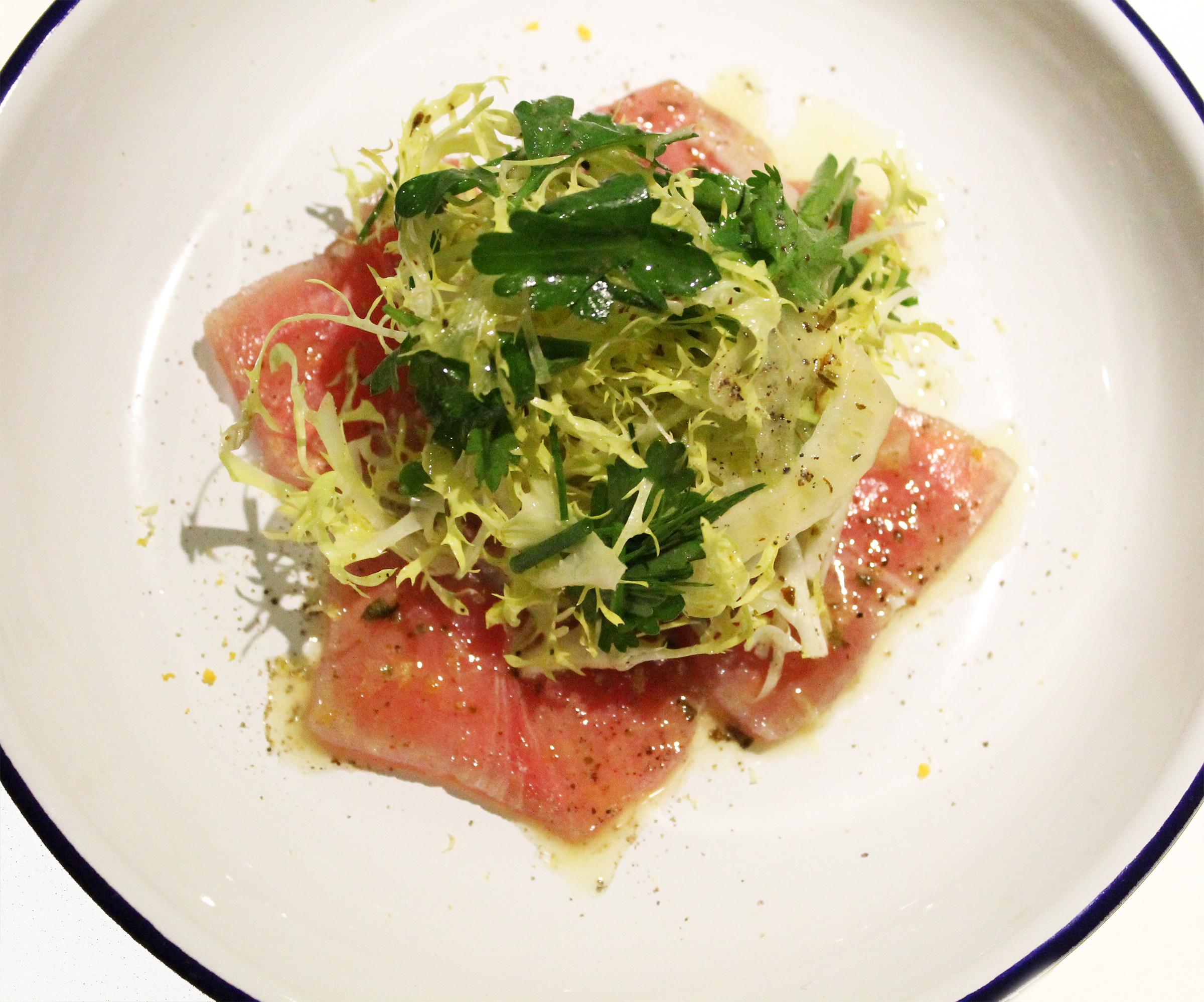 """""""Lakerda"""":Ahi Tuna, Fresh Herb Salad"""