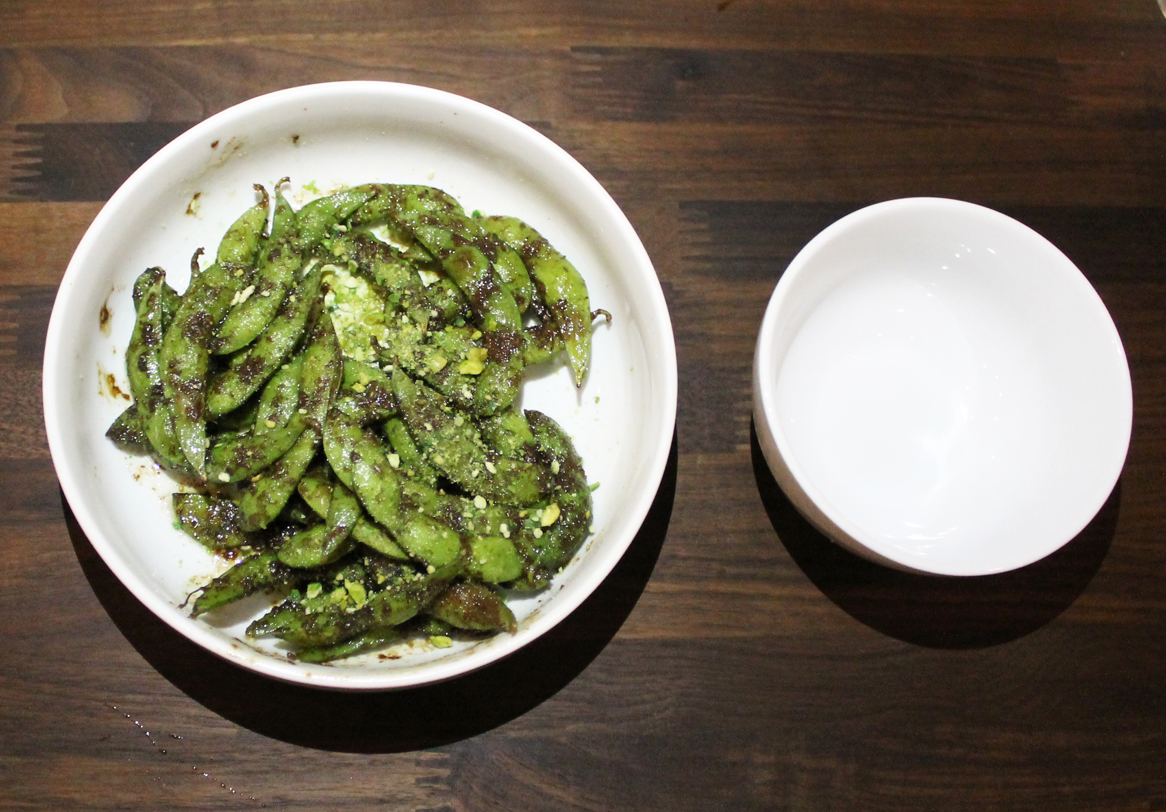 Charred Edamame: Miso Butter, Grated Daikon, Crushed Wasabi Peas
