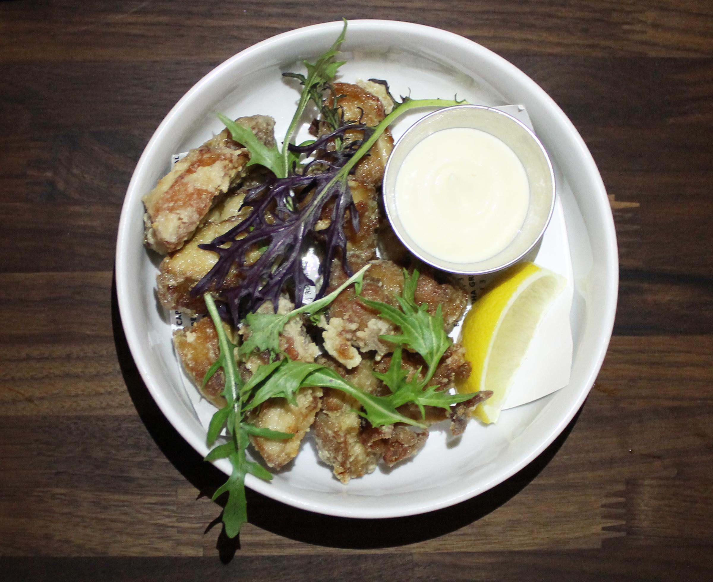 Chicken Karrage: Jidori Chicken Thighs, Yuzu Mayo, Mizuna