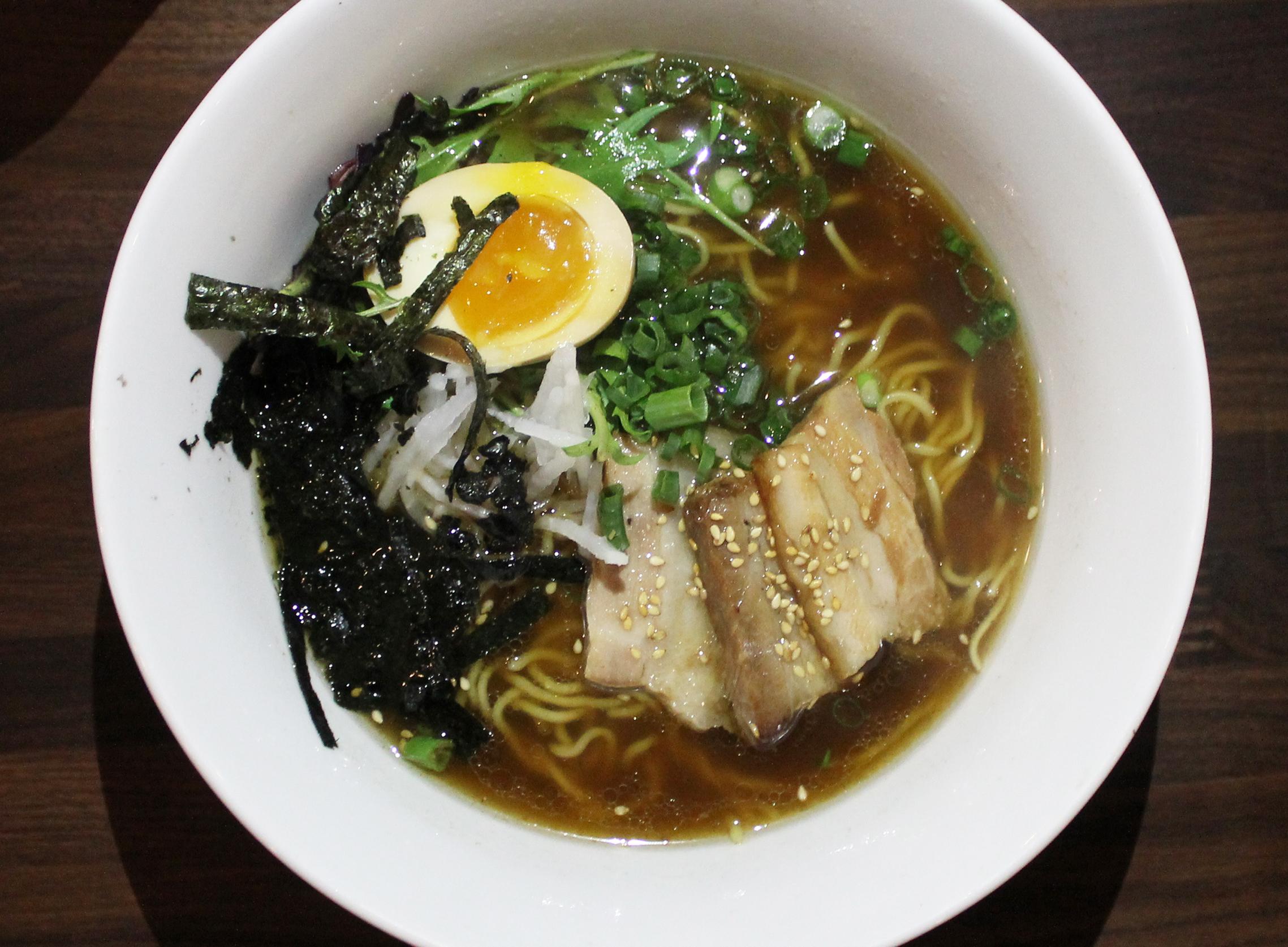 Ozu Pork Ramen: Kurobuta Pork Belly, Ajitama Eggs, Pickles, Mizuna