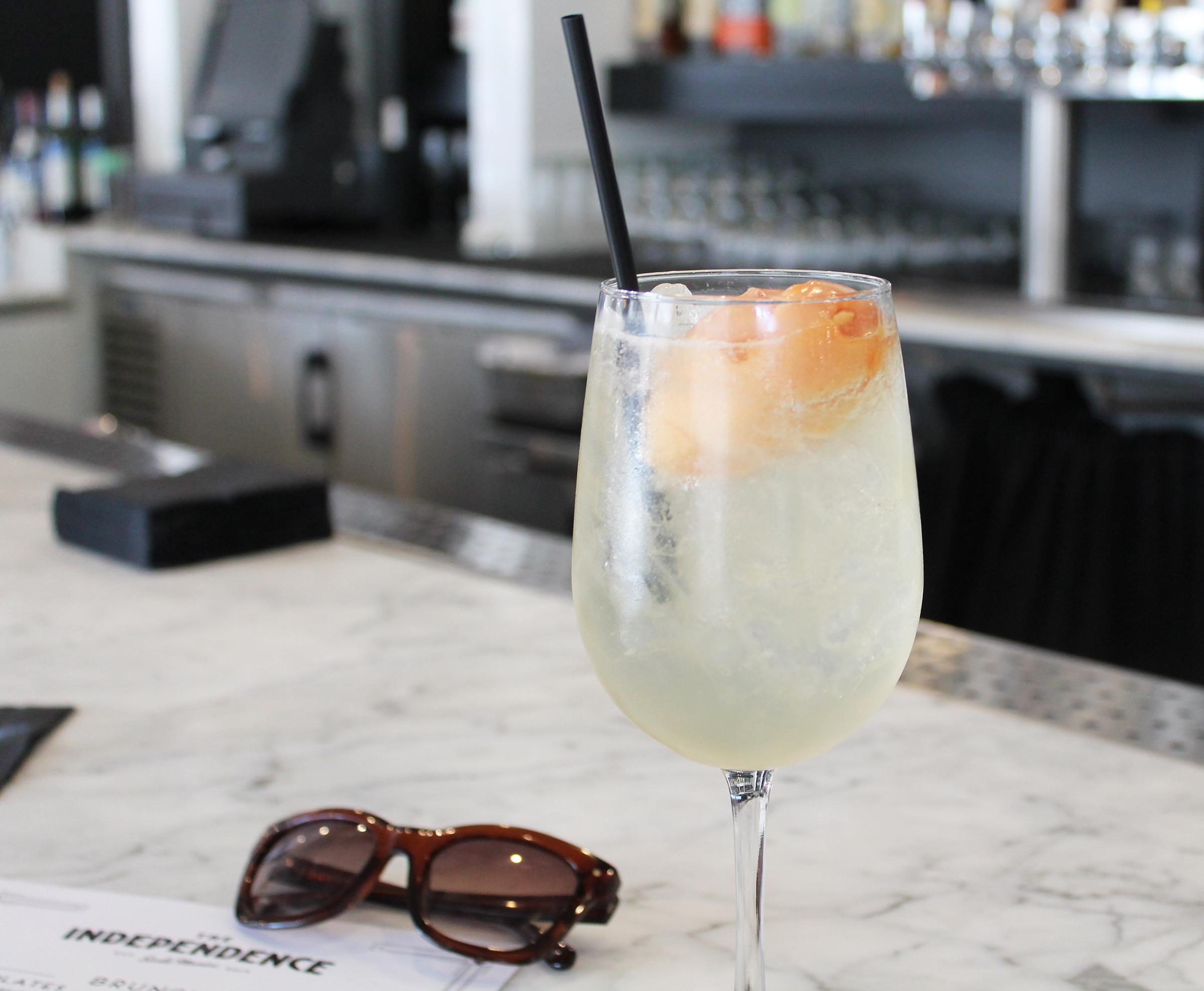 Blood Orange Bellini: Citron Vodka, Fresh Lemon Peach Liquor, Orange Sorbet, Sparkling Wine