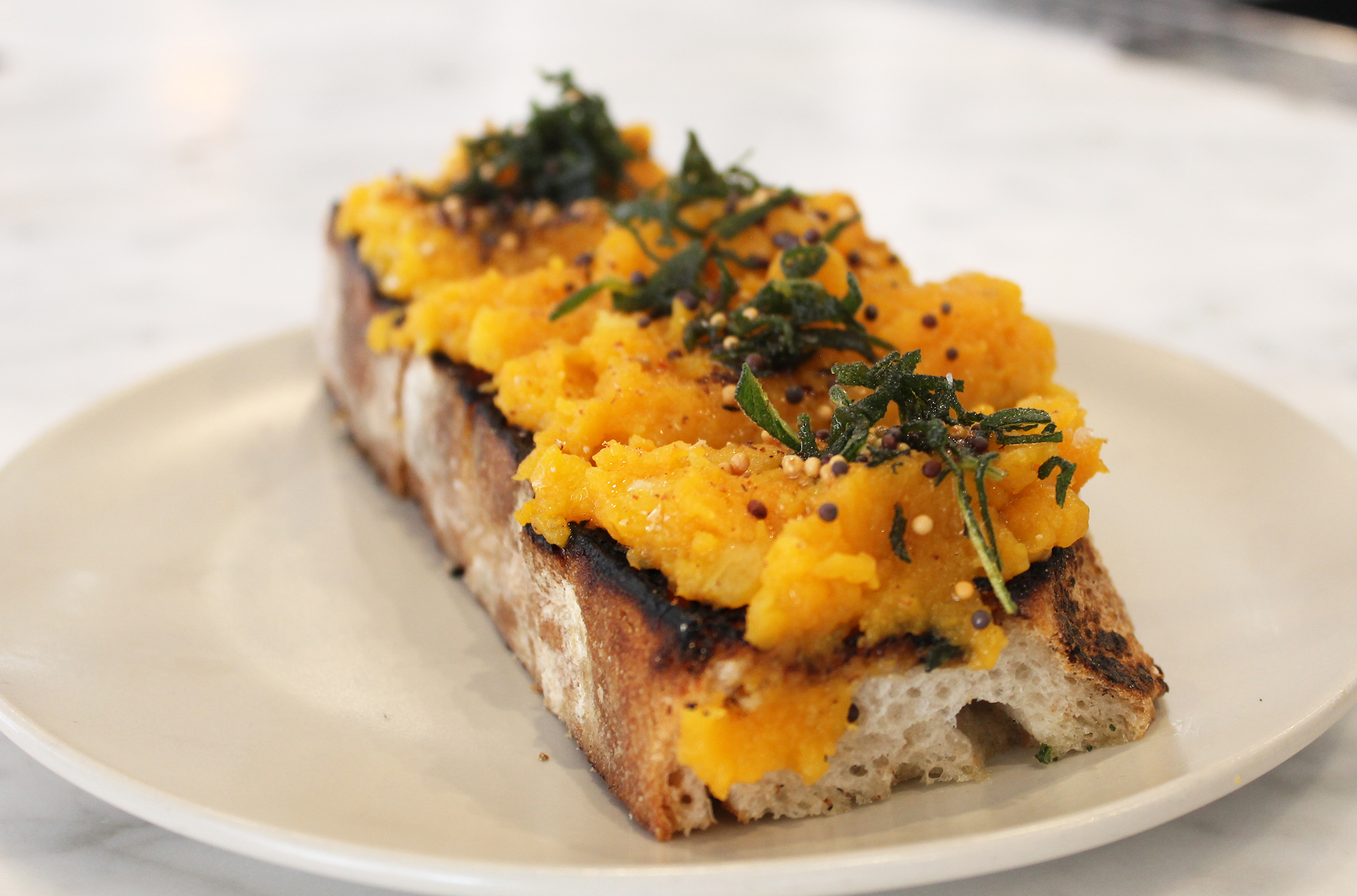 Butternut Squash Toast: Maple Syrup, Sage, Mustard Seed Oil