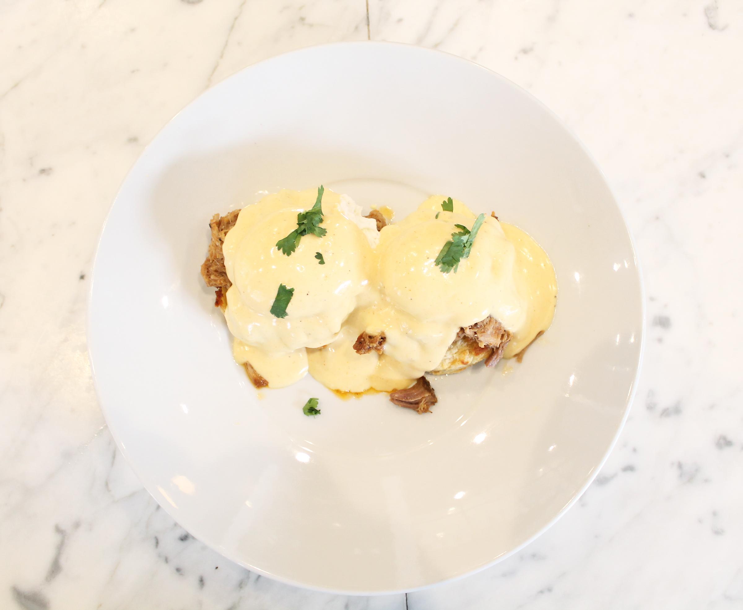 Eggs Benedict: Buttermilk Biscuits, Pulled Pork, Hollandaise