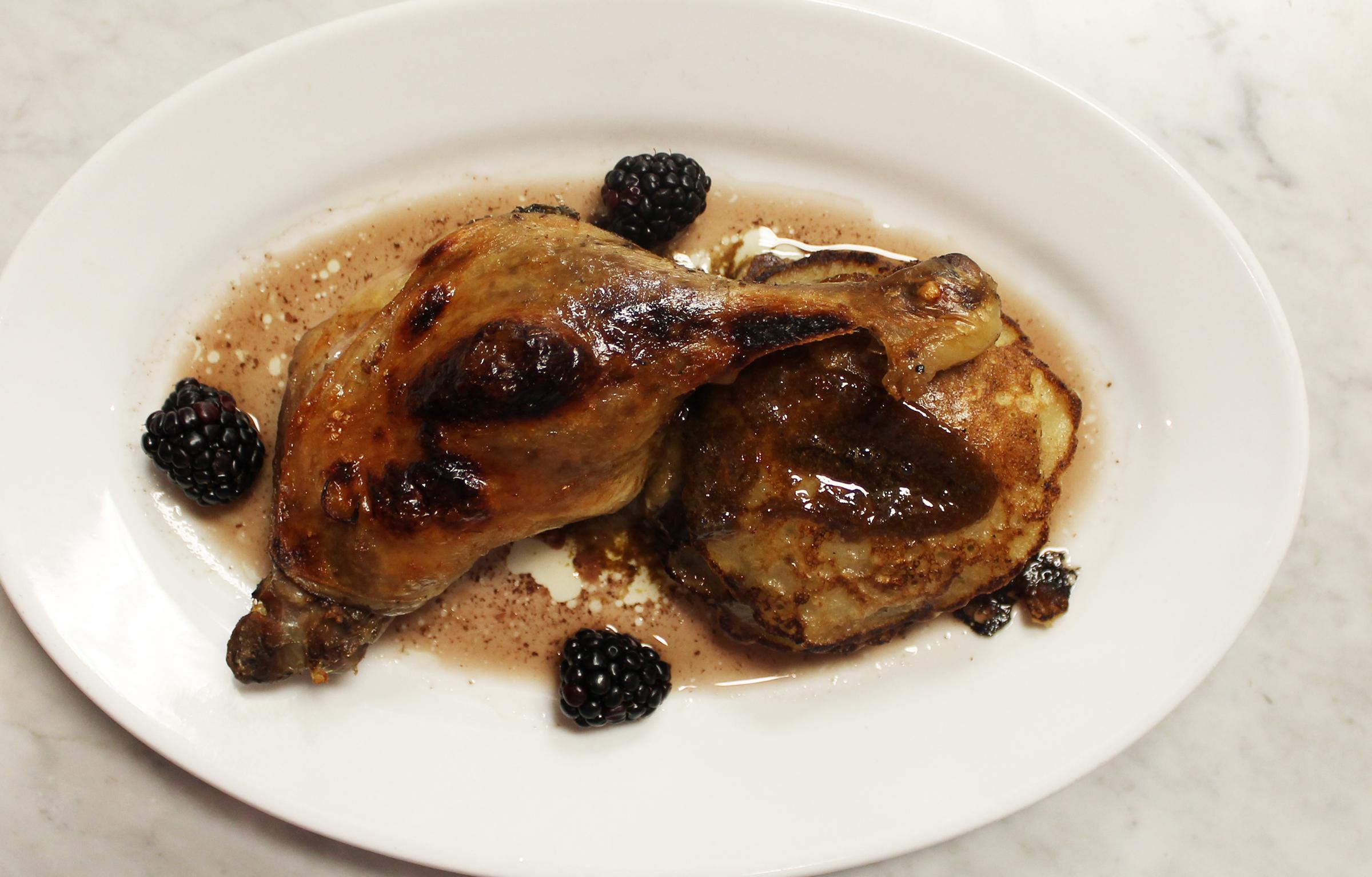 Duck Leg Confit: Oatmeal Griddle Cakes, Blackberry Jus