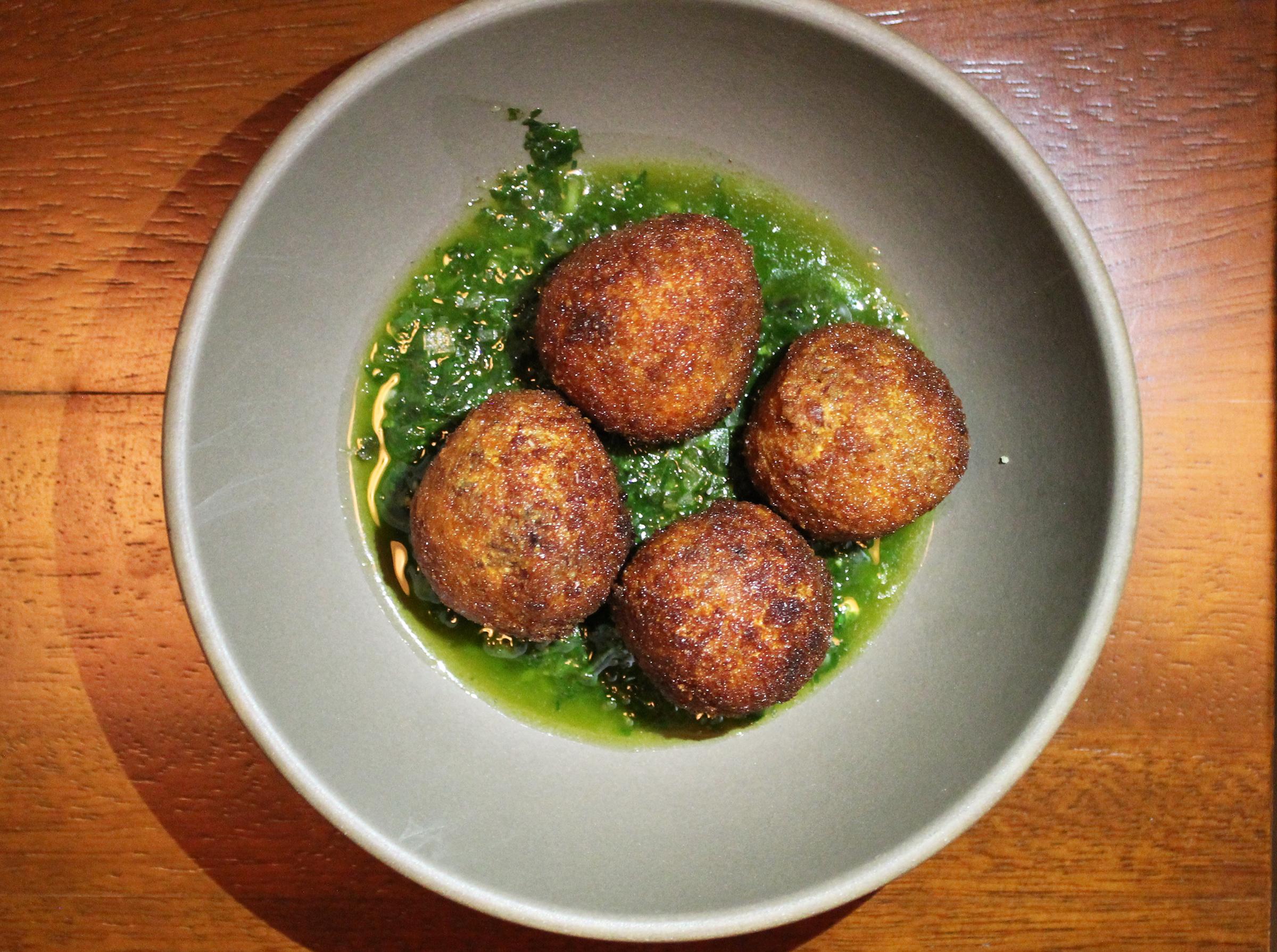 Pork Meatballs Fritti: salsa verde genoves