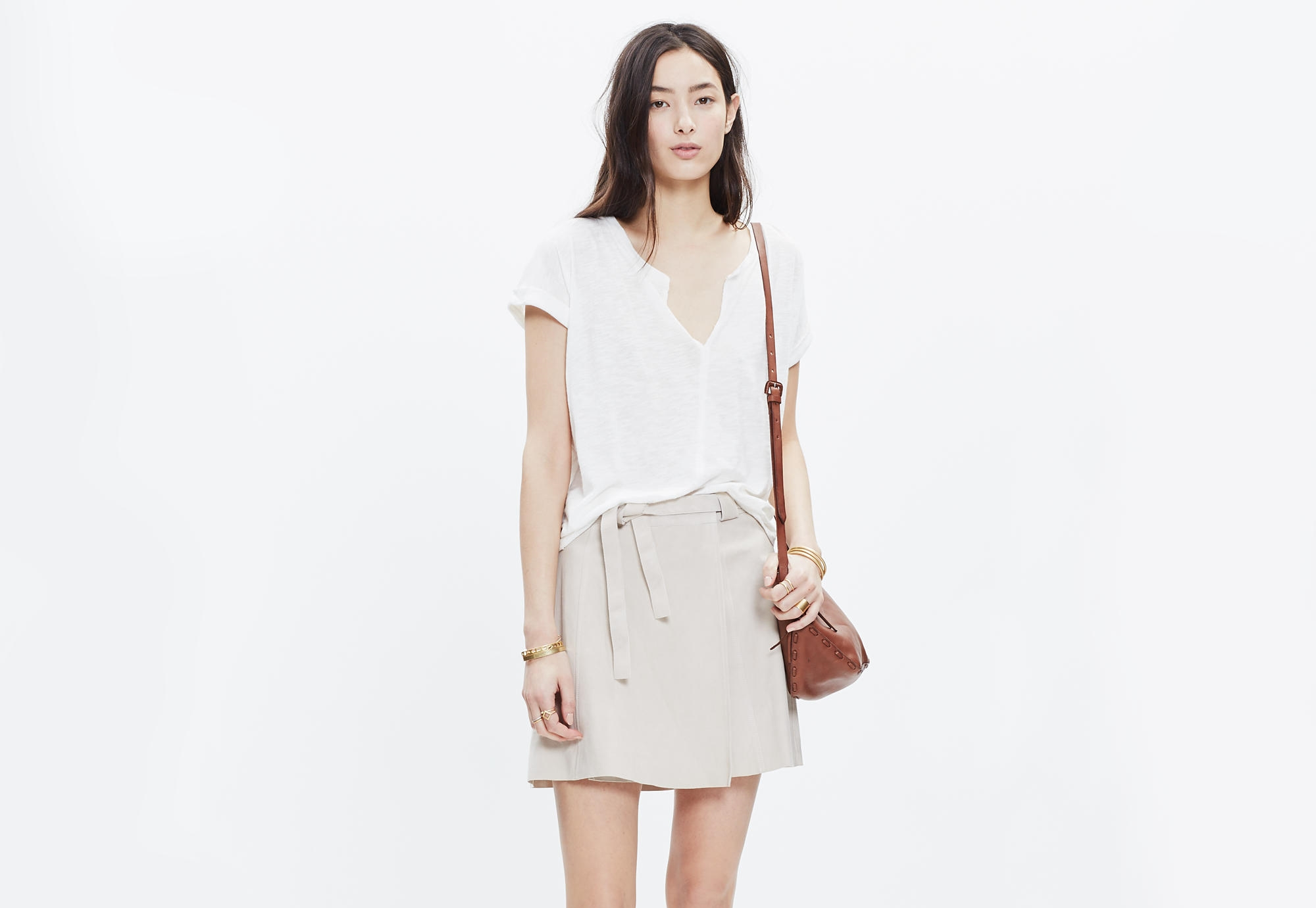 Suede Wrap Skirt, $298,  Madewell