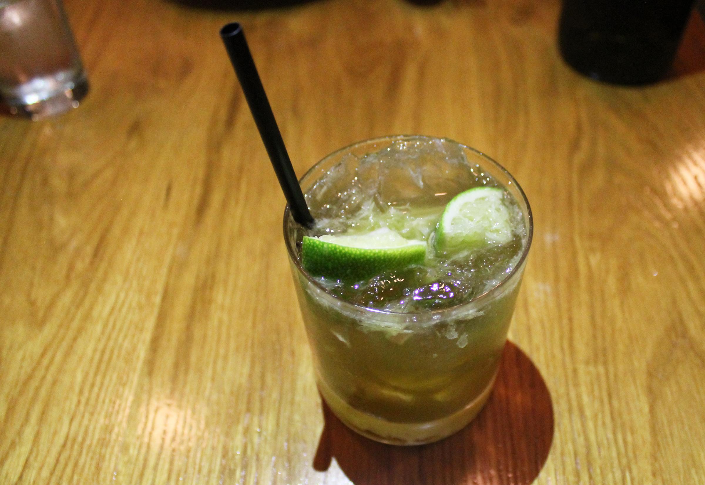 Jade of Hearts: Loft & Bear Vodka, Cocchi Rosa, Lime, Thai Basil Syrup, Lemongrass, Salt