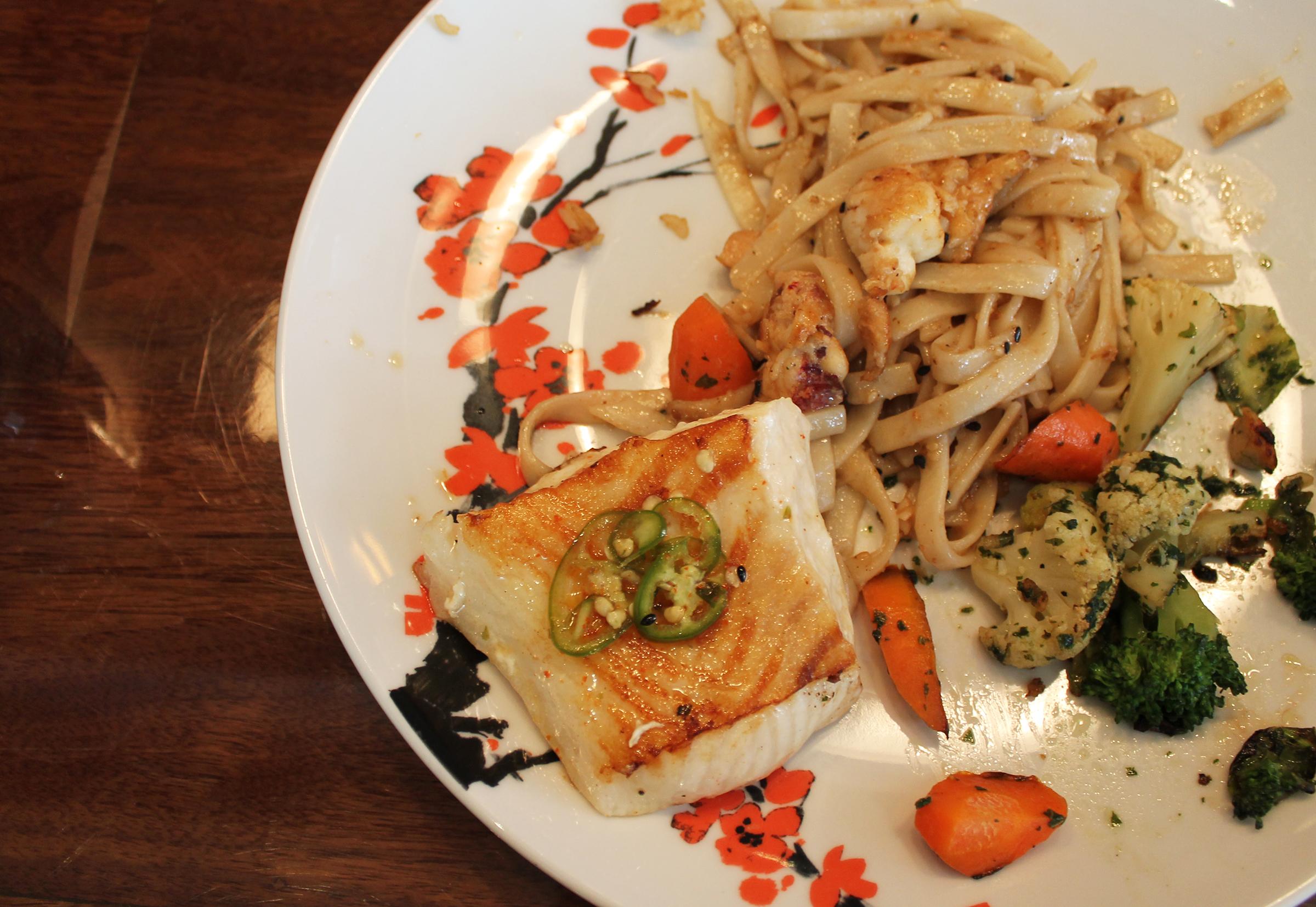 Teppanyaki Seabass and Lobster Garlic Noodles