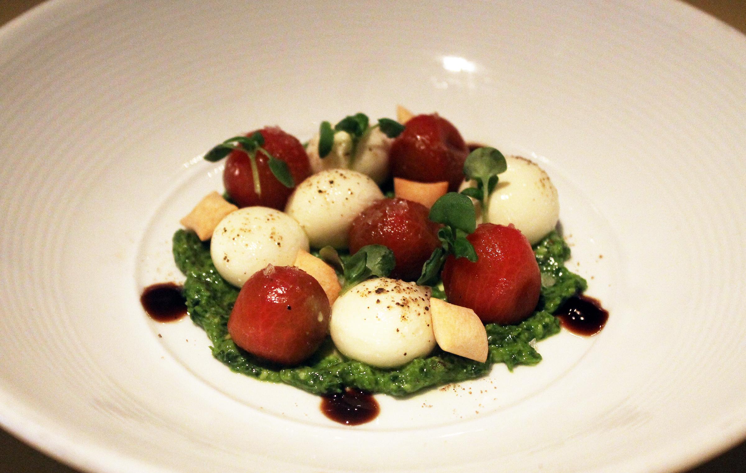 Not Your Everyday Caprésé:Cherry tomatoes, liquid mozzarella
