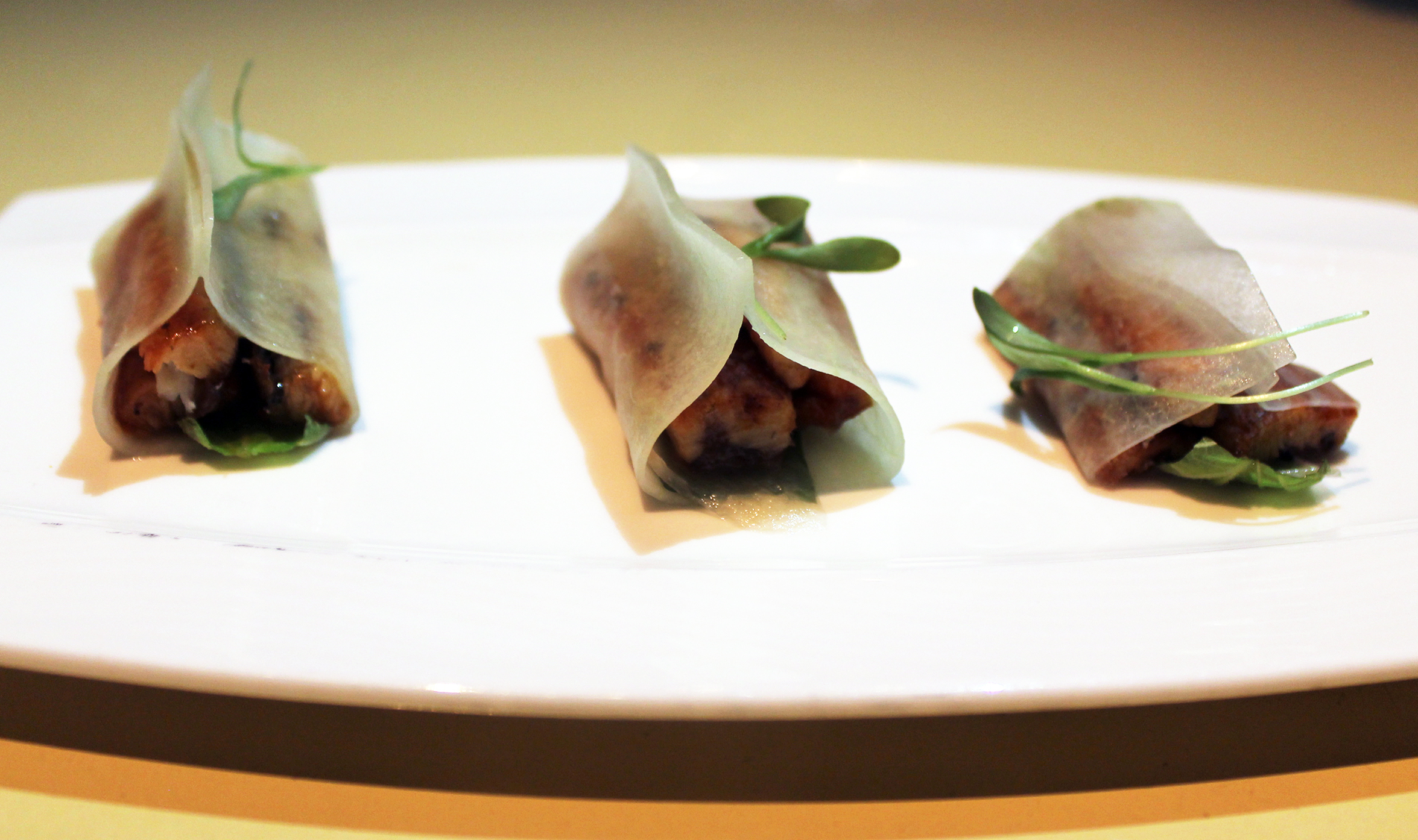 Japanese Taco:Bbq eel, shiso, cucumber, wasabi, chicharron