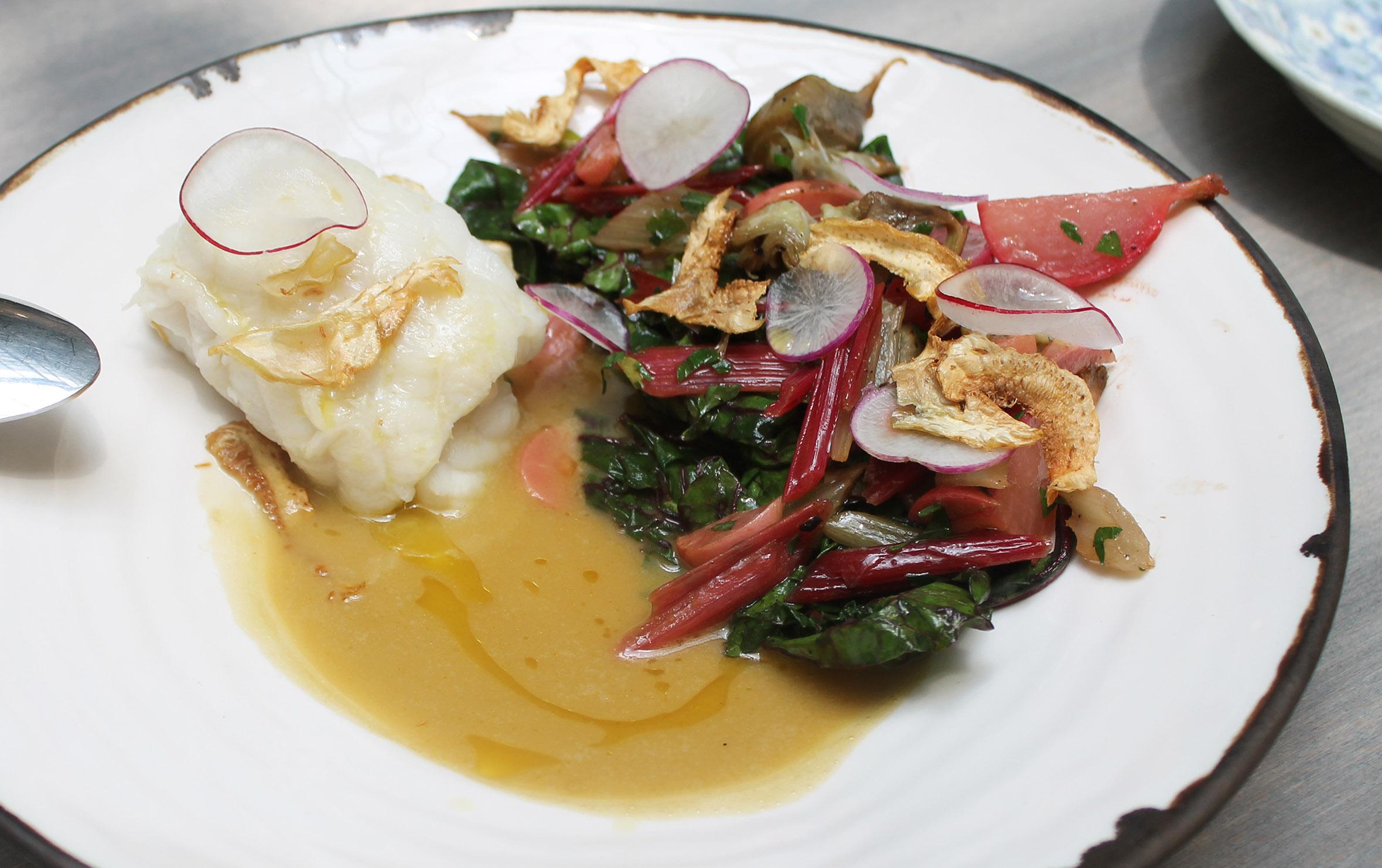 Slowly cooked cod, artichoke, radish, parsley, barigoule jus