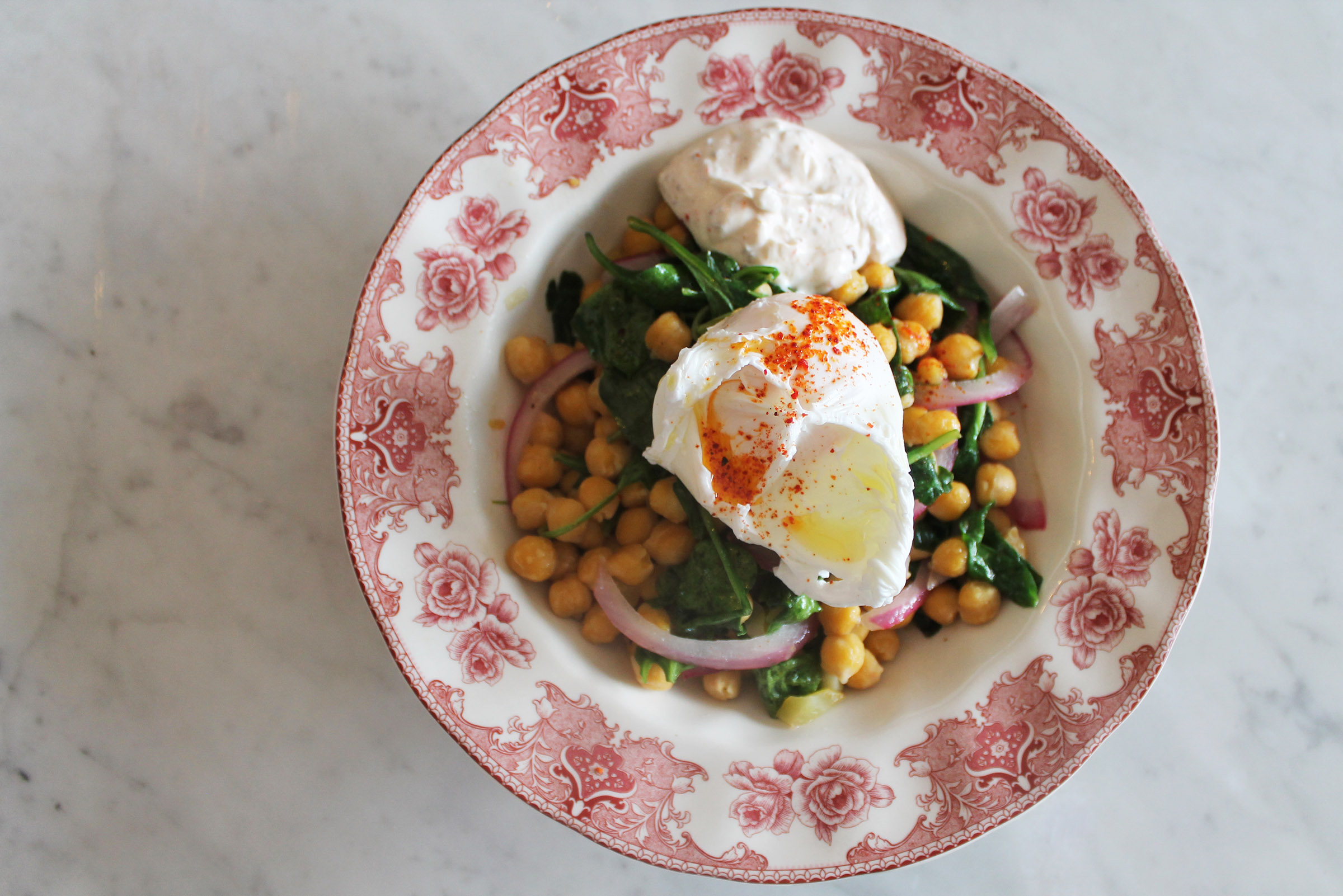 Warm Garbanzo Beans & Wilted Spinach: preserved lemon, spiced yogurt, poached egg
