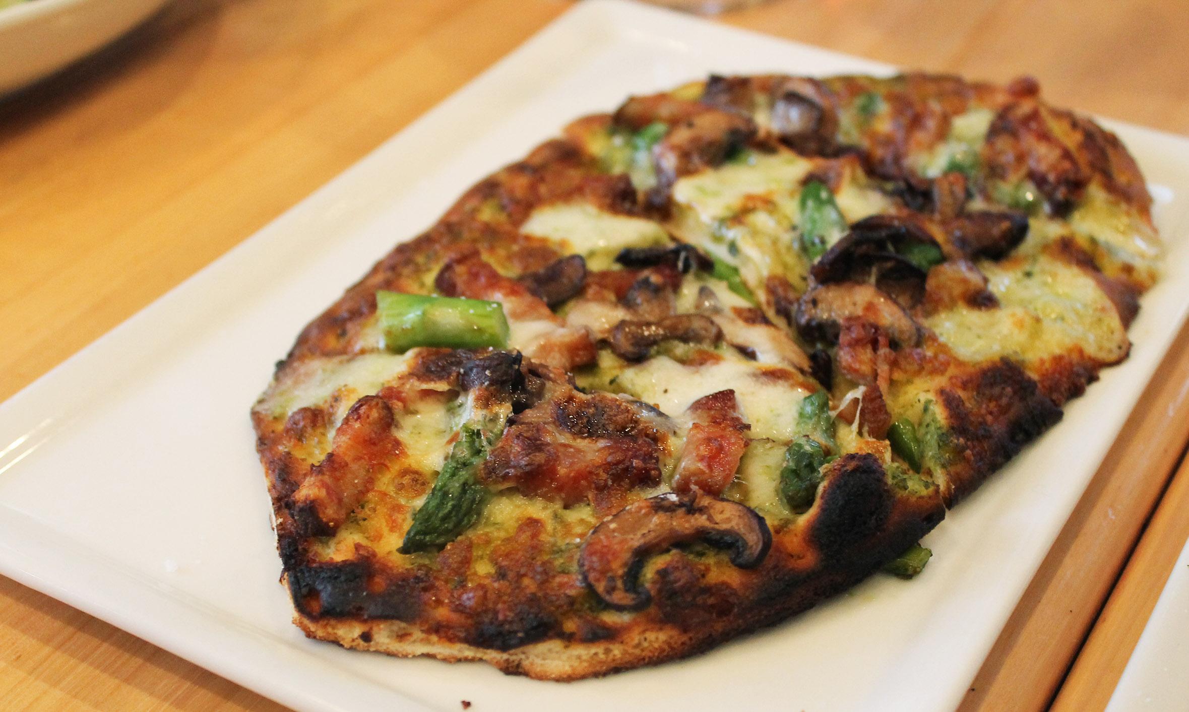 Spinach and Feta Naan-Zza:  pesto, potato, grilled onion