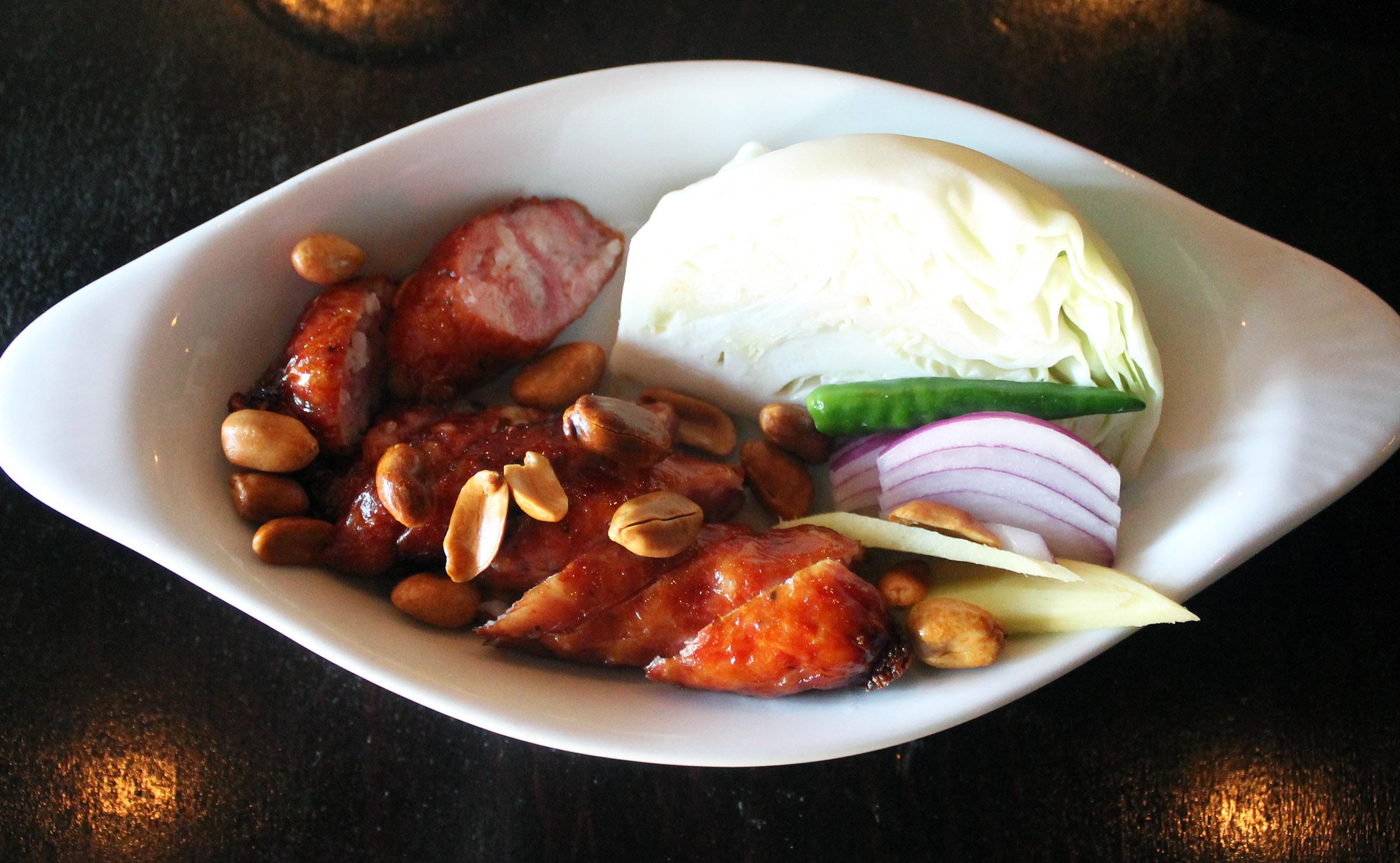 Sai Kork Esan - Thai Sausage:pork sausage with cabbage, chili, peanut and ginger