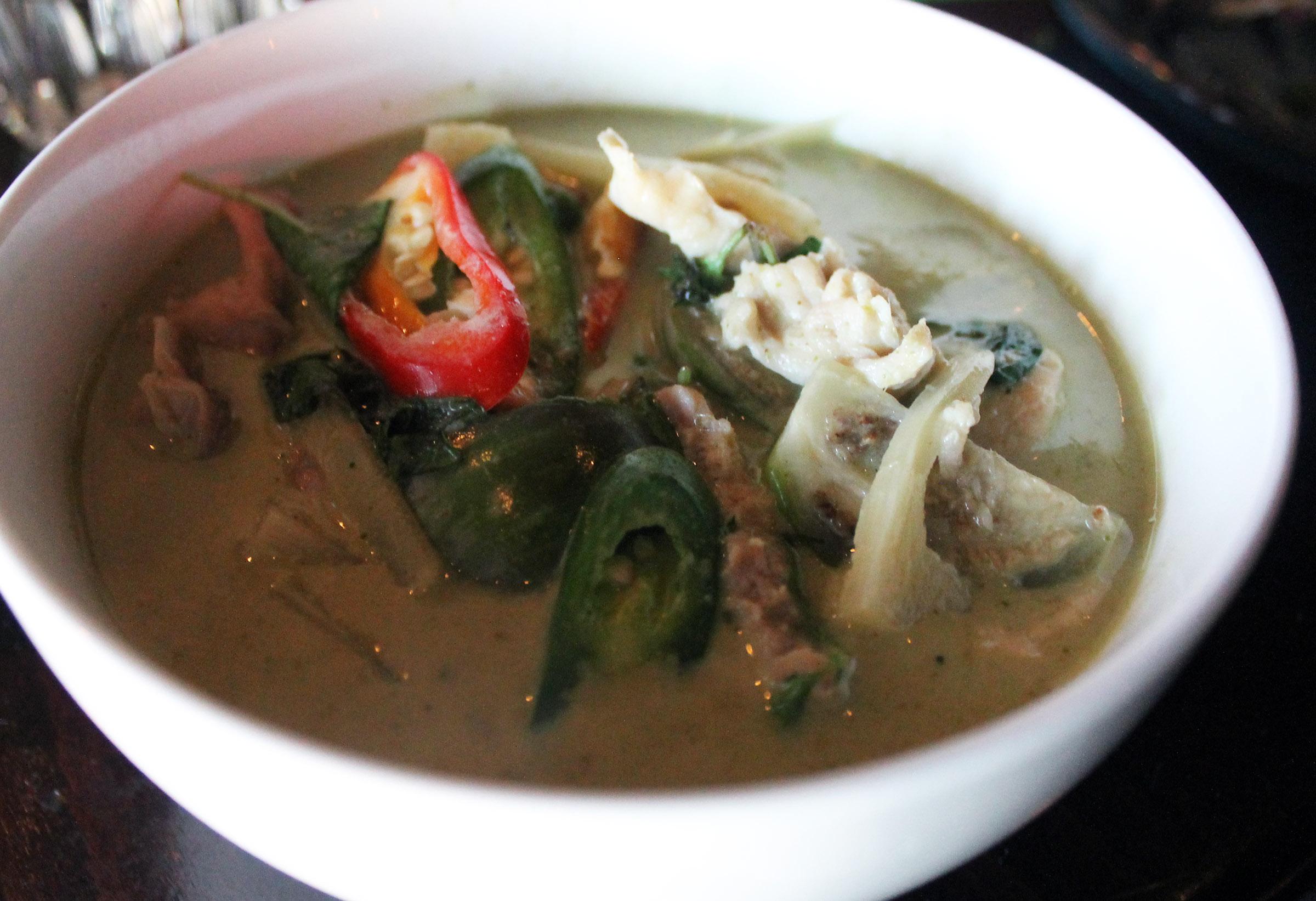 Gaeng Kiew Wan  Green Curry: coconut milk, Thai eggplant, bamboo shoots and basil