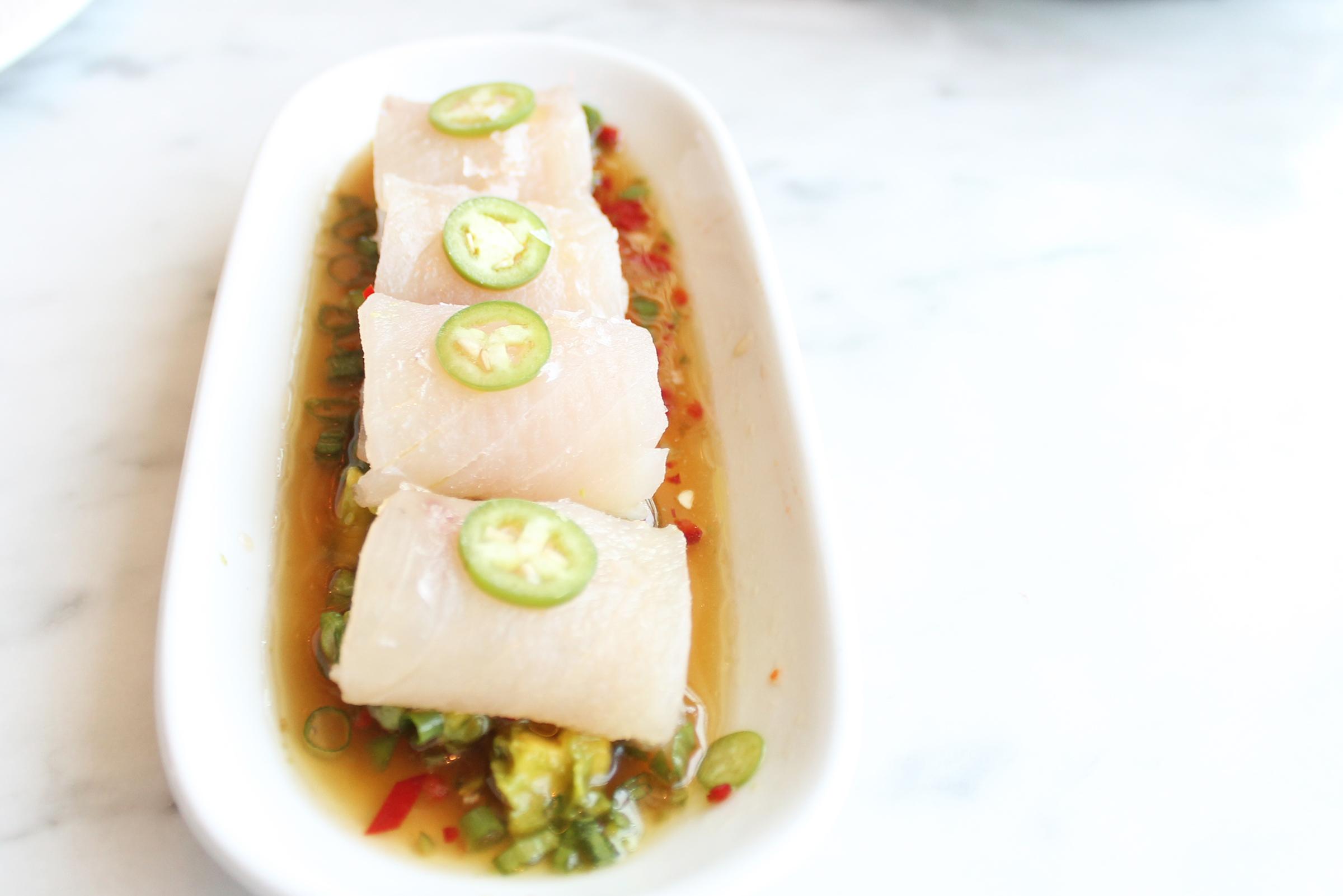 Albacore Sashimi:Sambal, Avocado, Ginger Vinaigrette