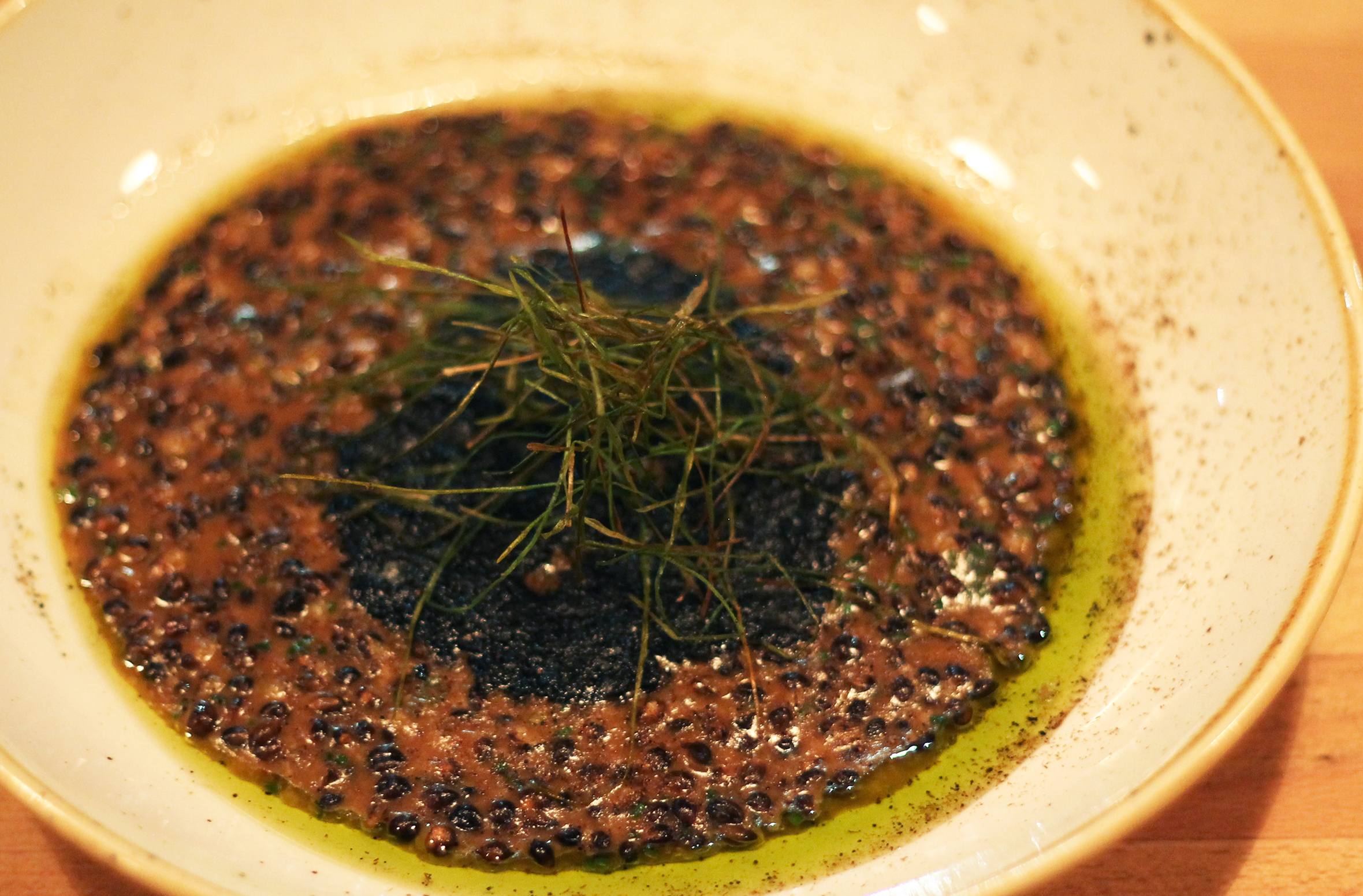 """WHEATBERRY """"RISOTTO"""":black garlic / toasted cheese"""