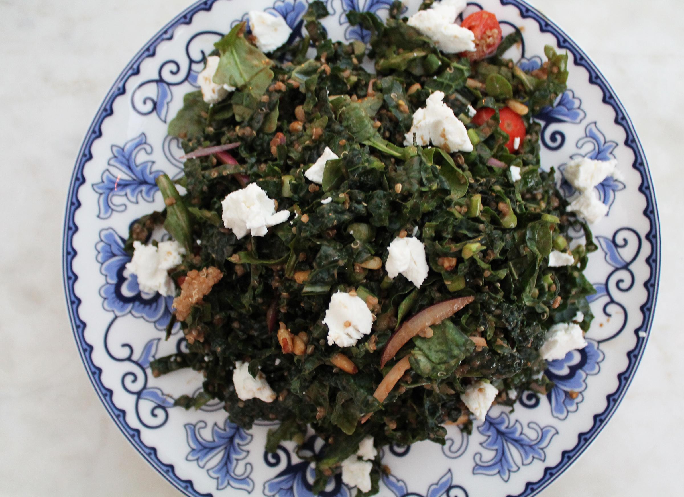 Kale Salad: Quinoa, Goat Cheese, Tomato, Pine Nuts, Onion, Sherry