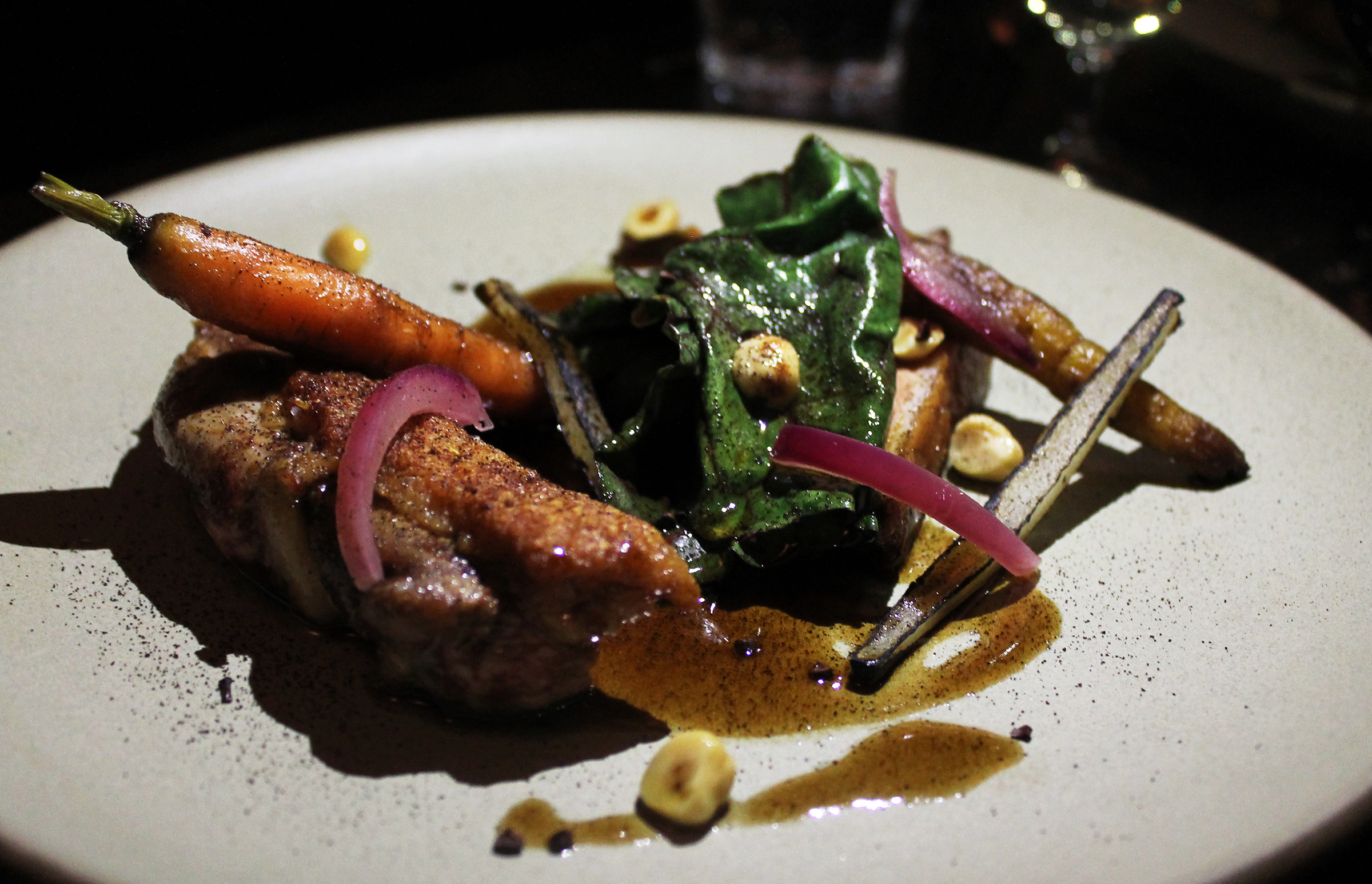 Duck Breast with Carrots, Chard, and Chocolate