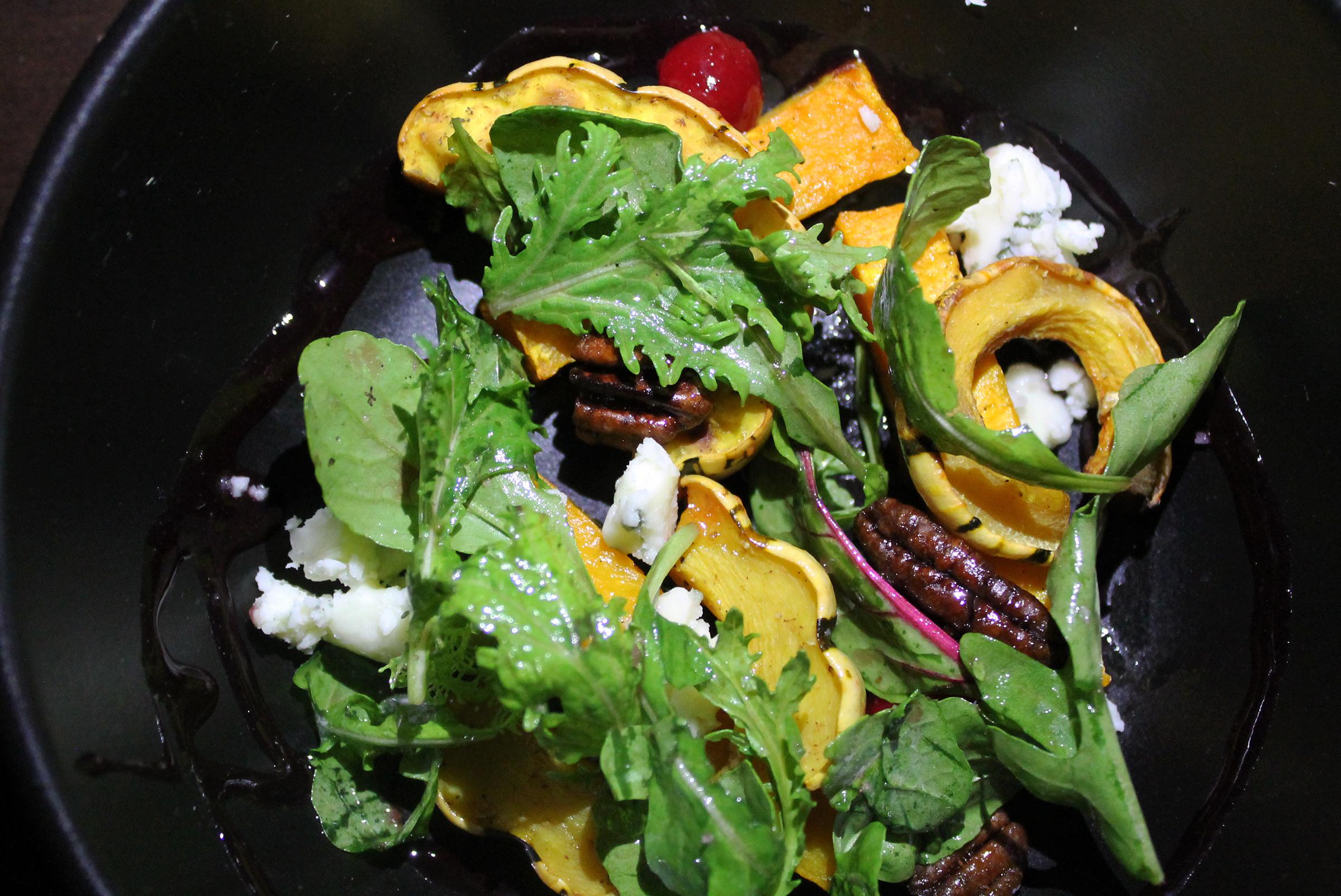 Winter Squash Salad: Cranberries, Candied Pecans, Gorgonzola, Arugula